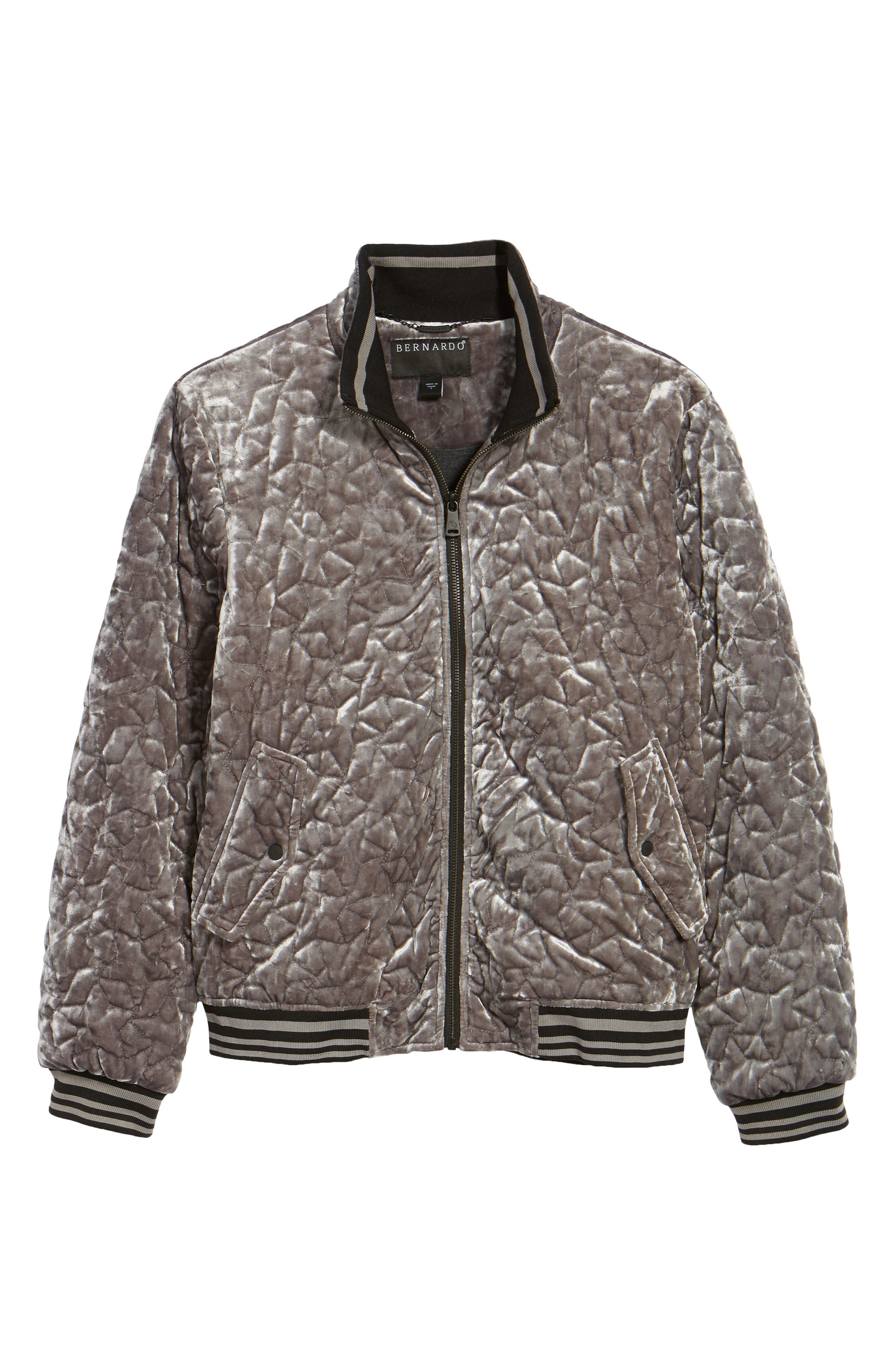 Quilted Velvet Bomber Jacket,                             Alternate thumbnail 5, color,                             049
