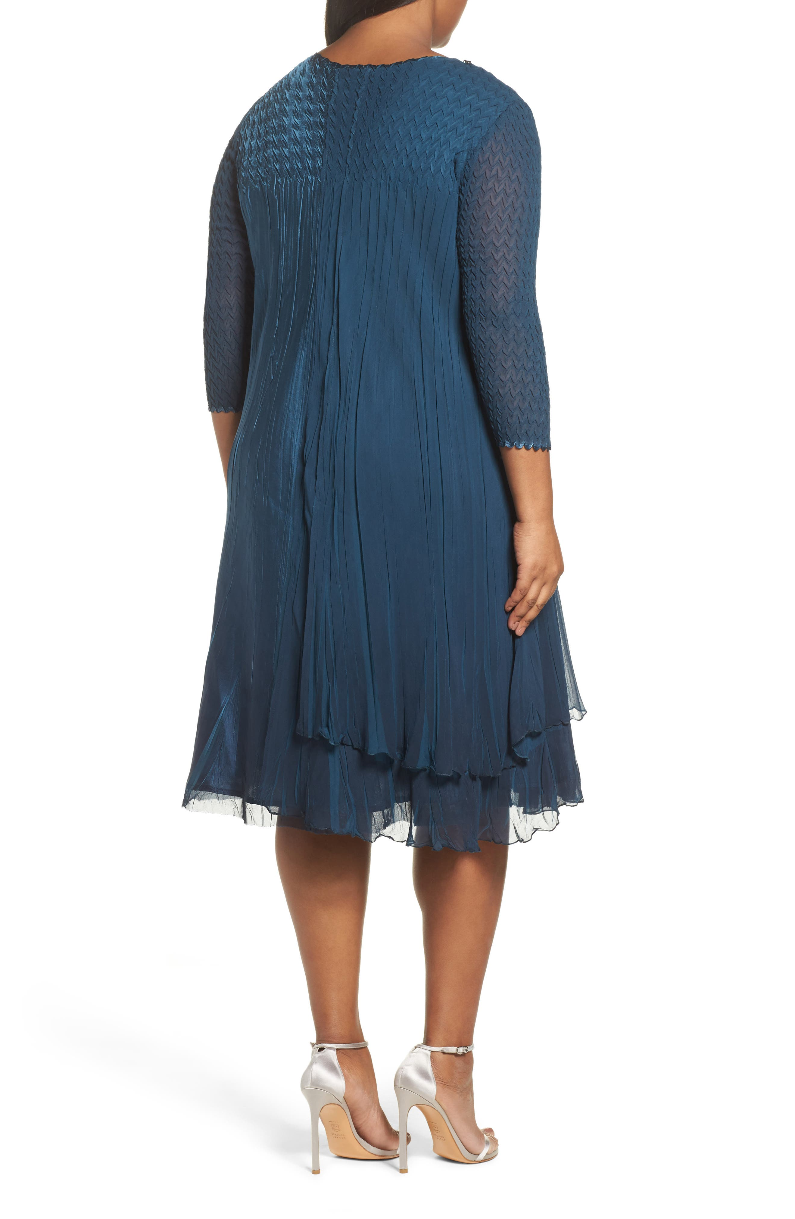 Beaded Neck Chiffon Dress,                             Alternate thumbnail 2, color,                             419