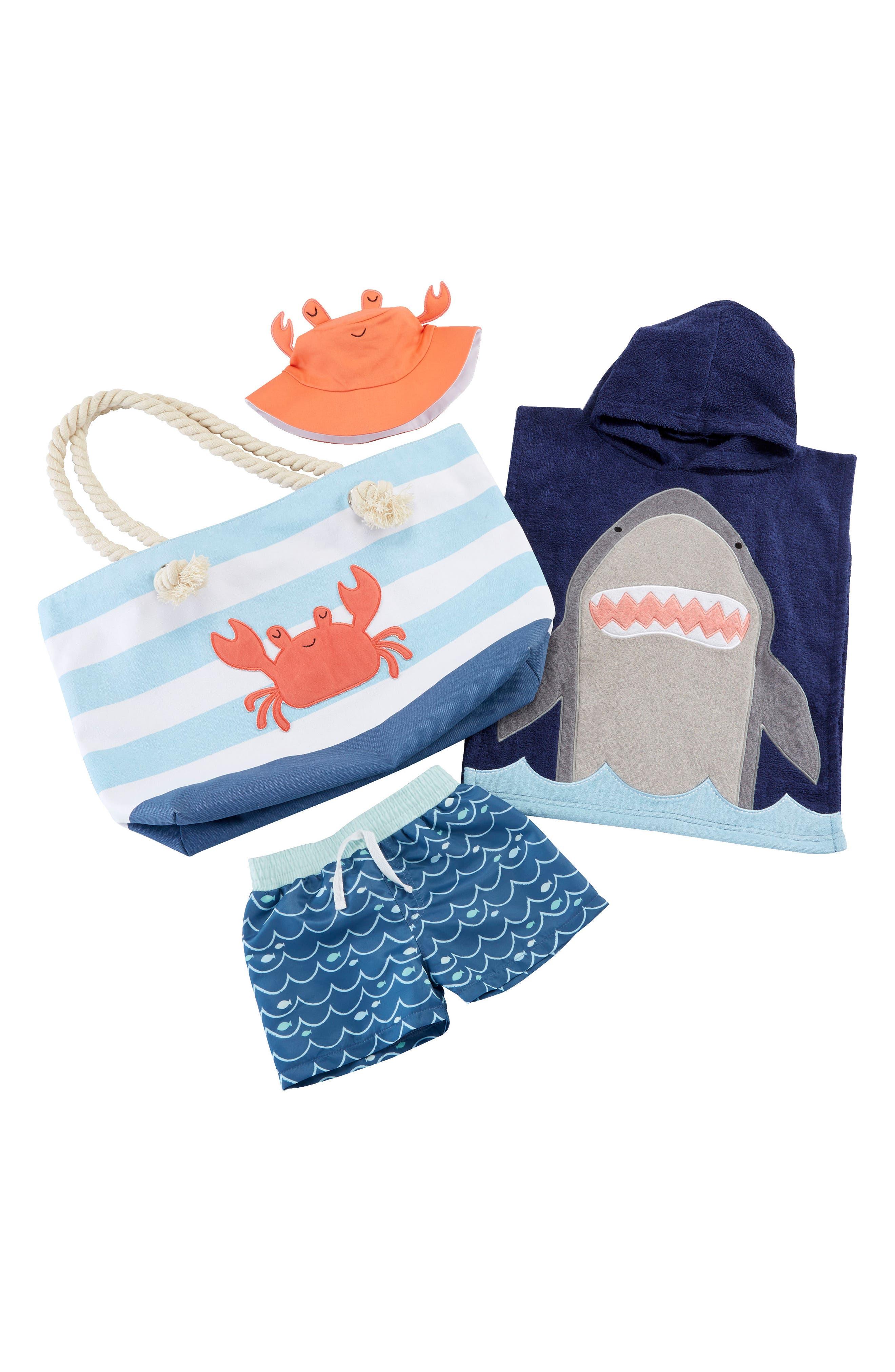 BABY ASPEN,                             Shark Hooded Towel, Swim Trunks, Sun Hat & Tote Set,                             Main thumbnail 1, color,                             BLUE
