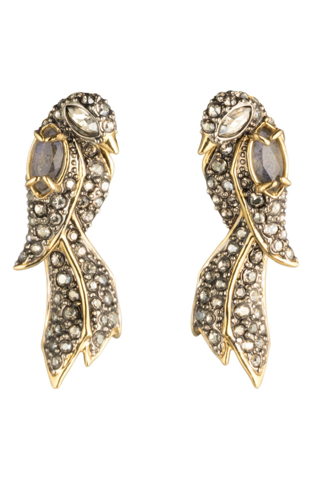 Lovebird Post Earrings,                         Main,                         color, GOLD/ SILVER