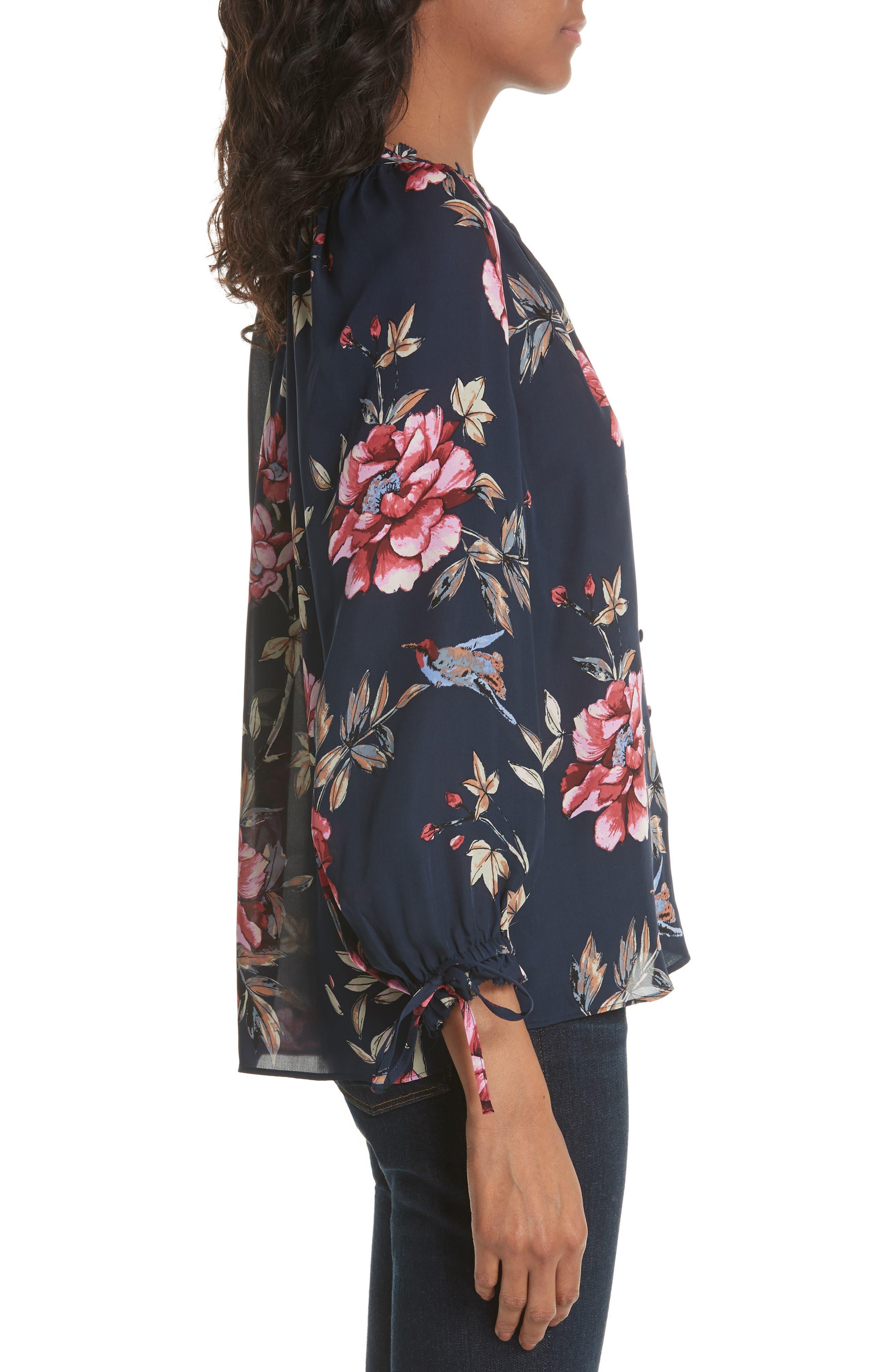 Corsen Floral Silk Blouse,                             Alternate thumbnail 3, color,                             410