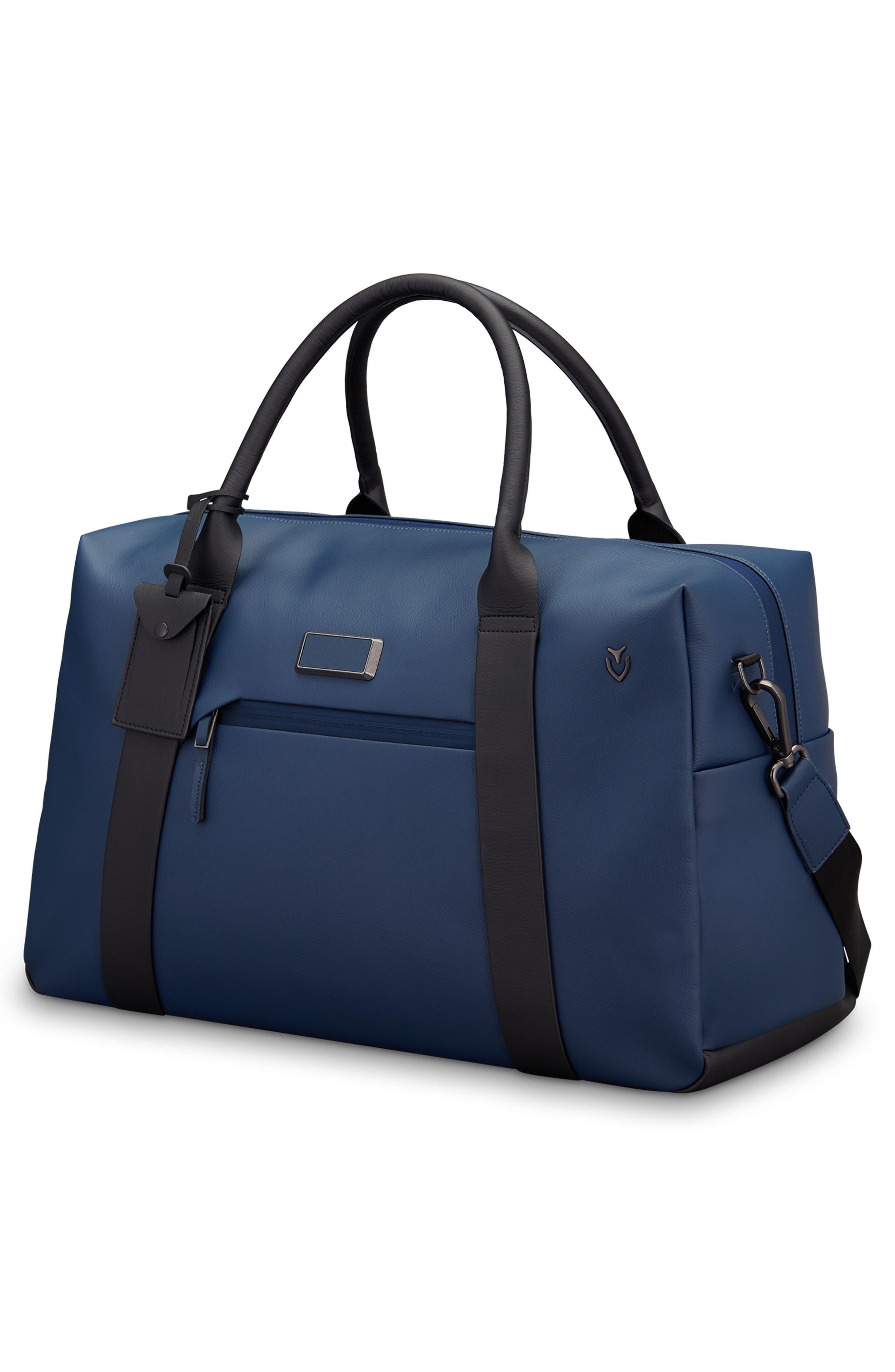 Signature 2.0 Faux Leather Duffel Bag,                             Alternate thumbnail 3, color,                             PEBBLED NAVY/ BLACK