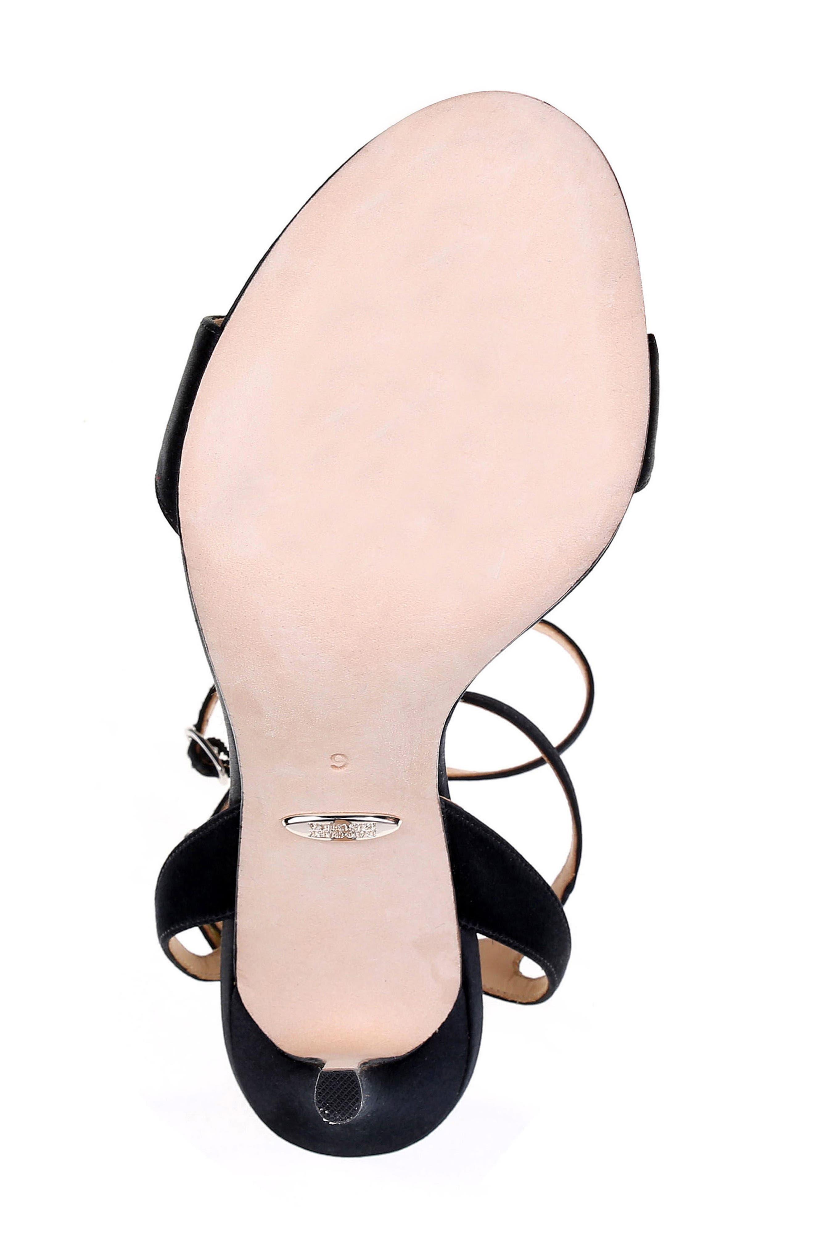 Hollow T-Strap Embellished Sandal,                             Alternate thumbnail 6, color,                             BLACK SATIN