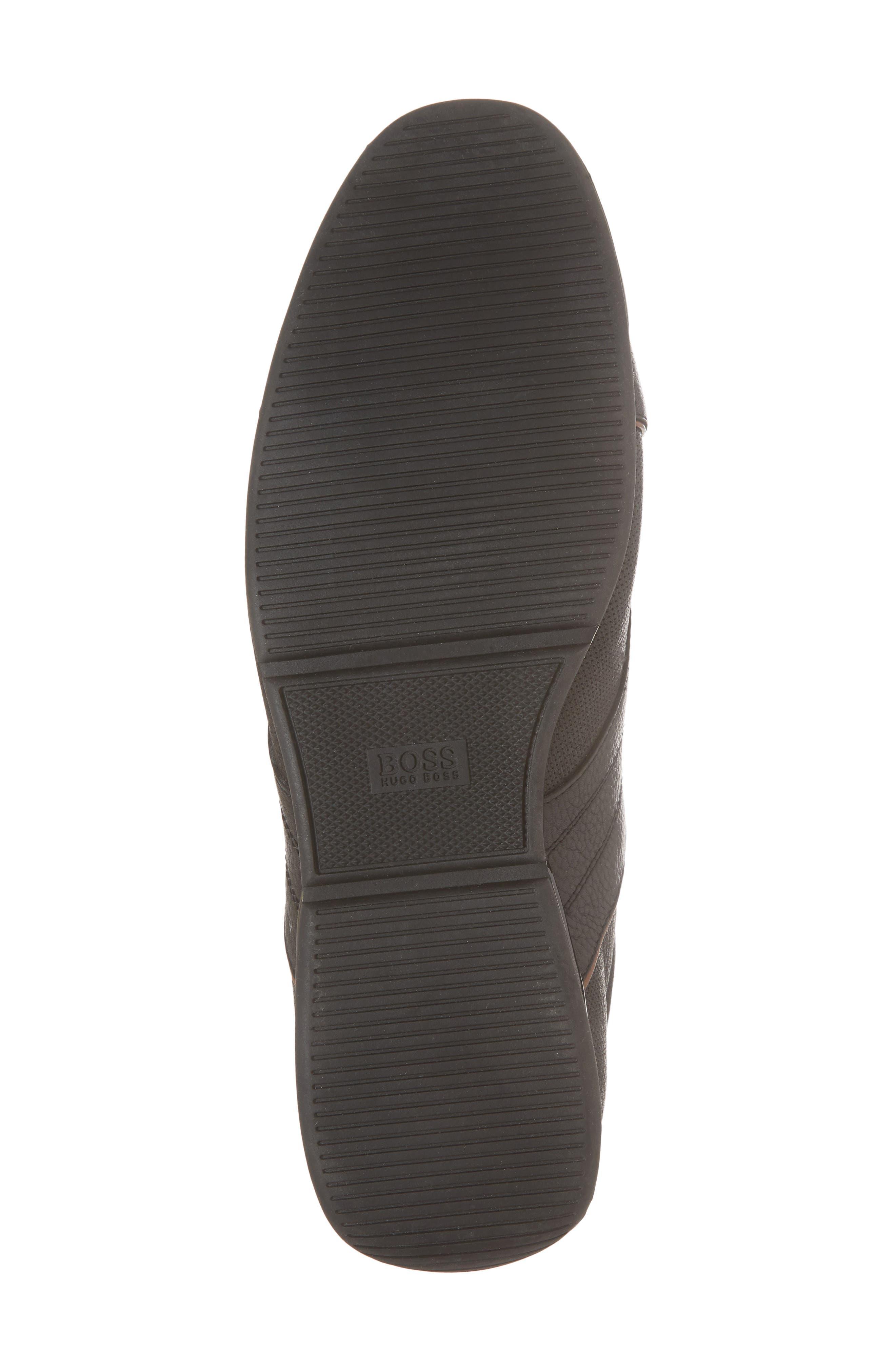 Hugo Boss Saturn Low Top Sneaker,                             Alternate thumbnail 6, color,                             BLACK LEATHER