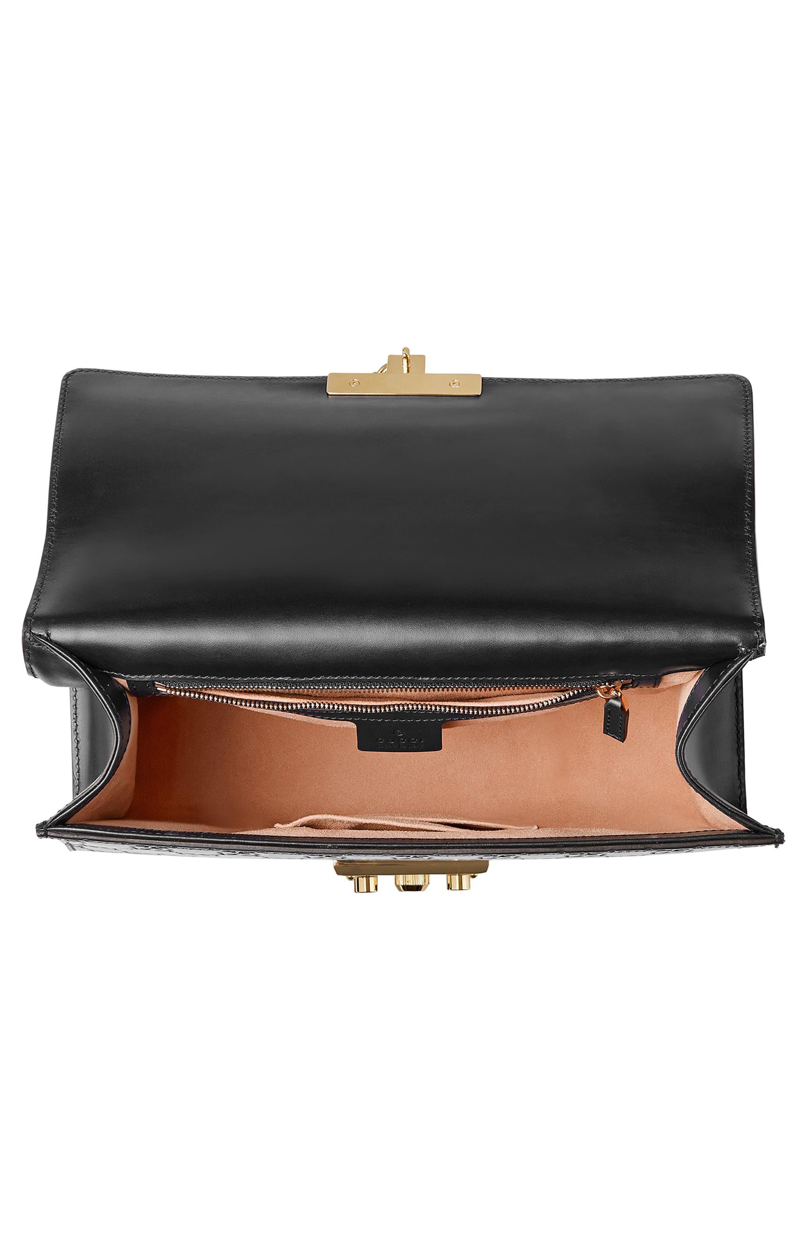 Medium Padlock Signature Leather Shoulder Bag,                             Alternate thumbnail 3, color,                             NERO