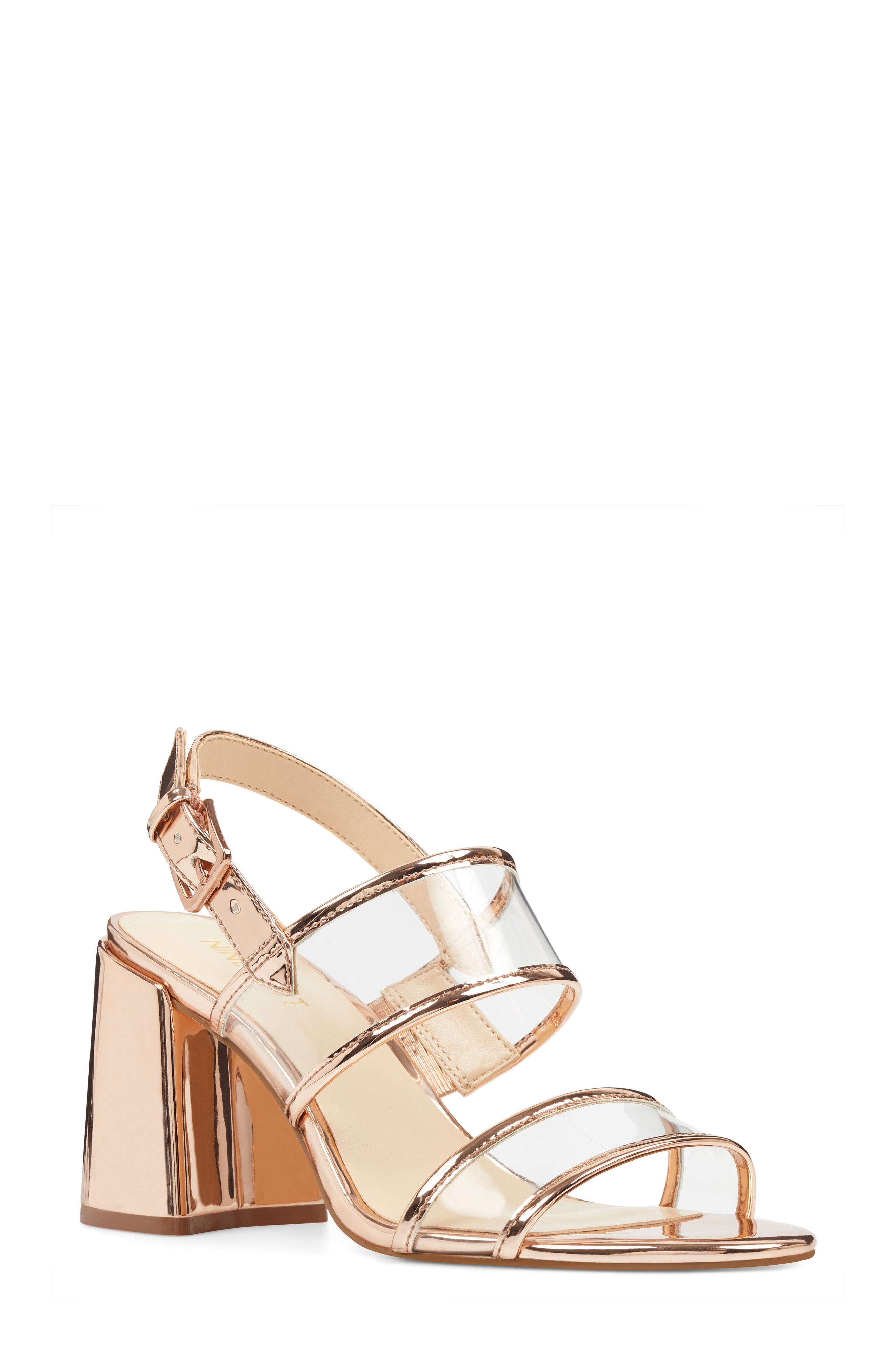 Gourdes Block Heel Sandal,                         Main,                         color, CLEAR PINK MULTI FAUX LEATHER