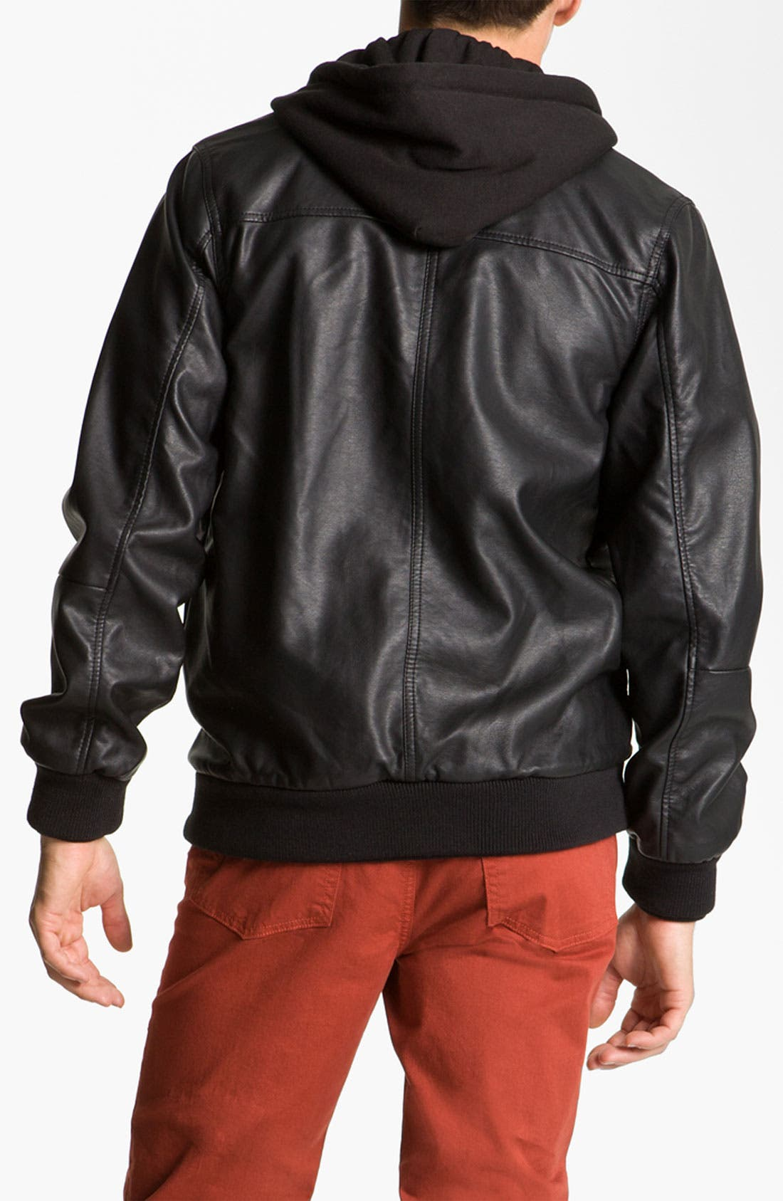 'Rapture' Trim Fit Layered Faux Leather Jacket,                             Alternate thumbnail 2, color,                             001