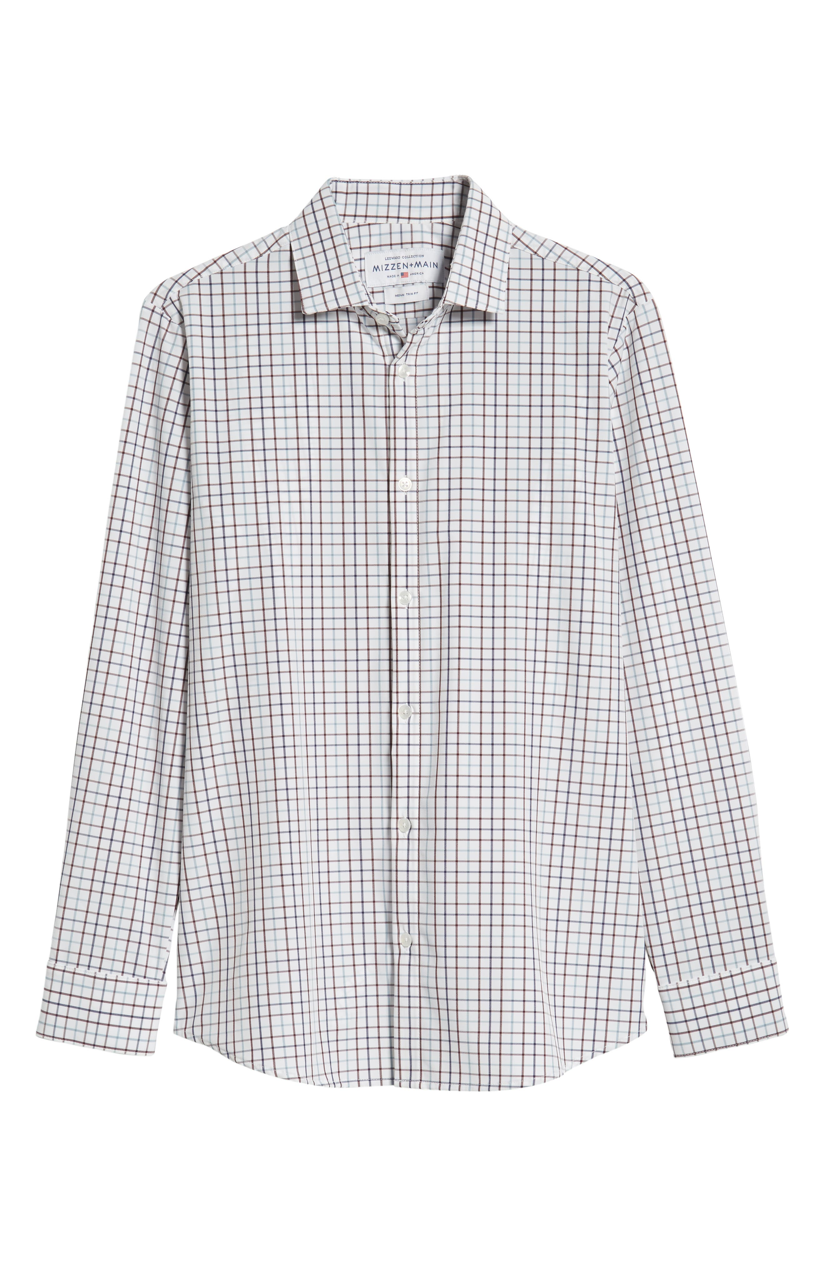 Ward Regular Fit Multi Check Performance Sport Shirt,                             Alternate thumbnail 5, color,                             WHITE