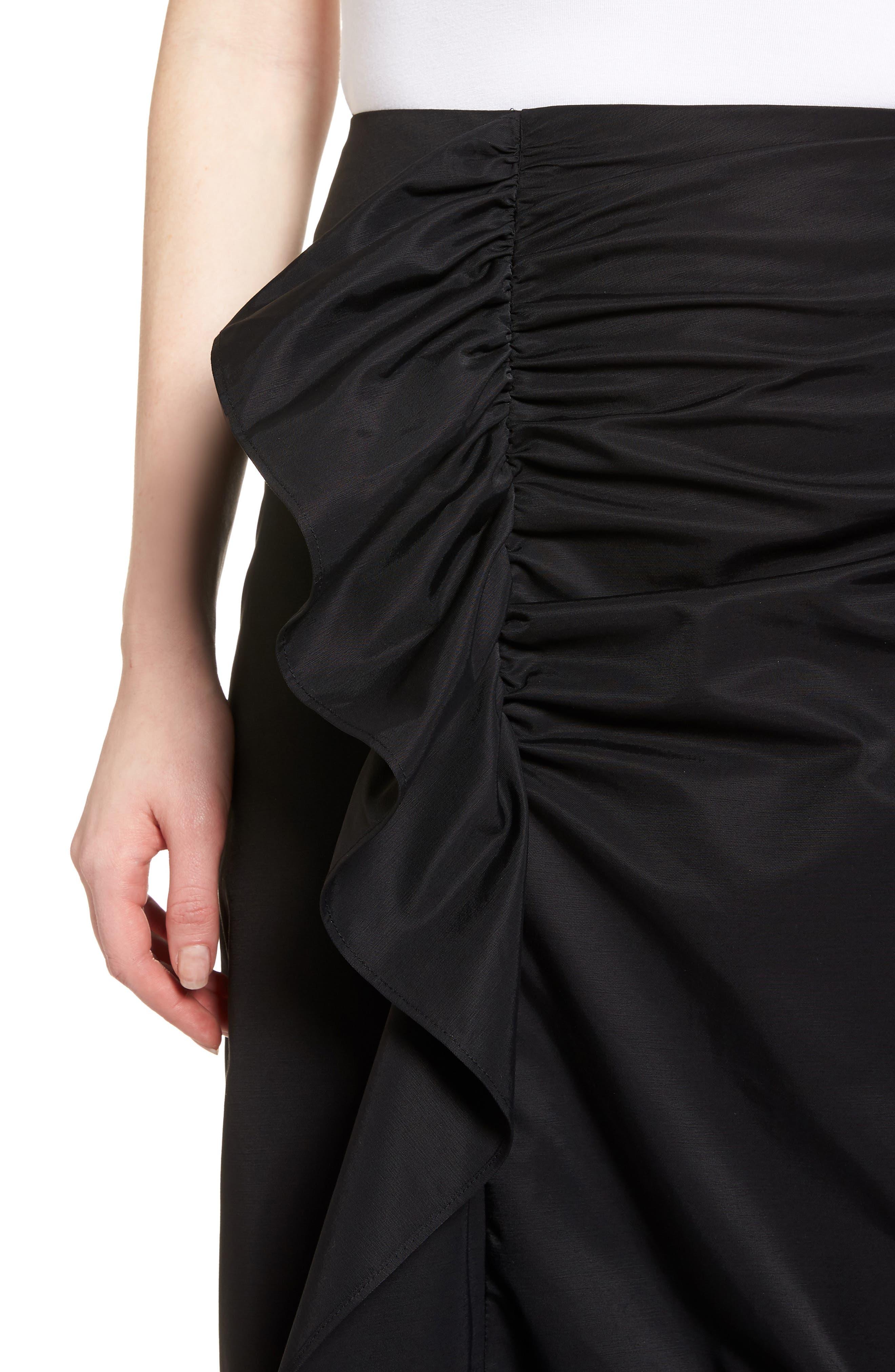 Ruffle Front Skirt,                             Alternate thumbnail 4, color,                             001