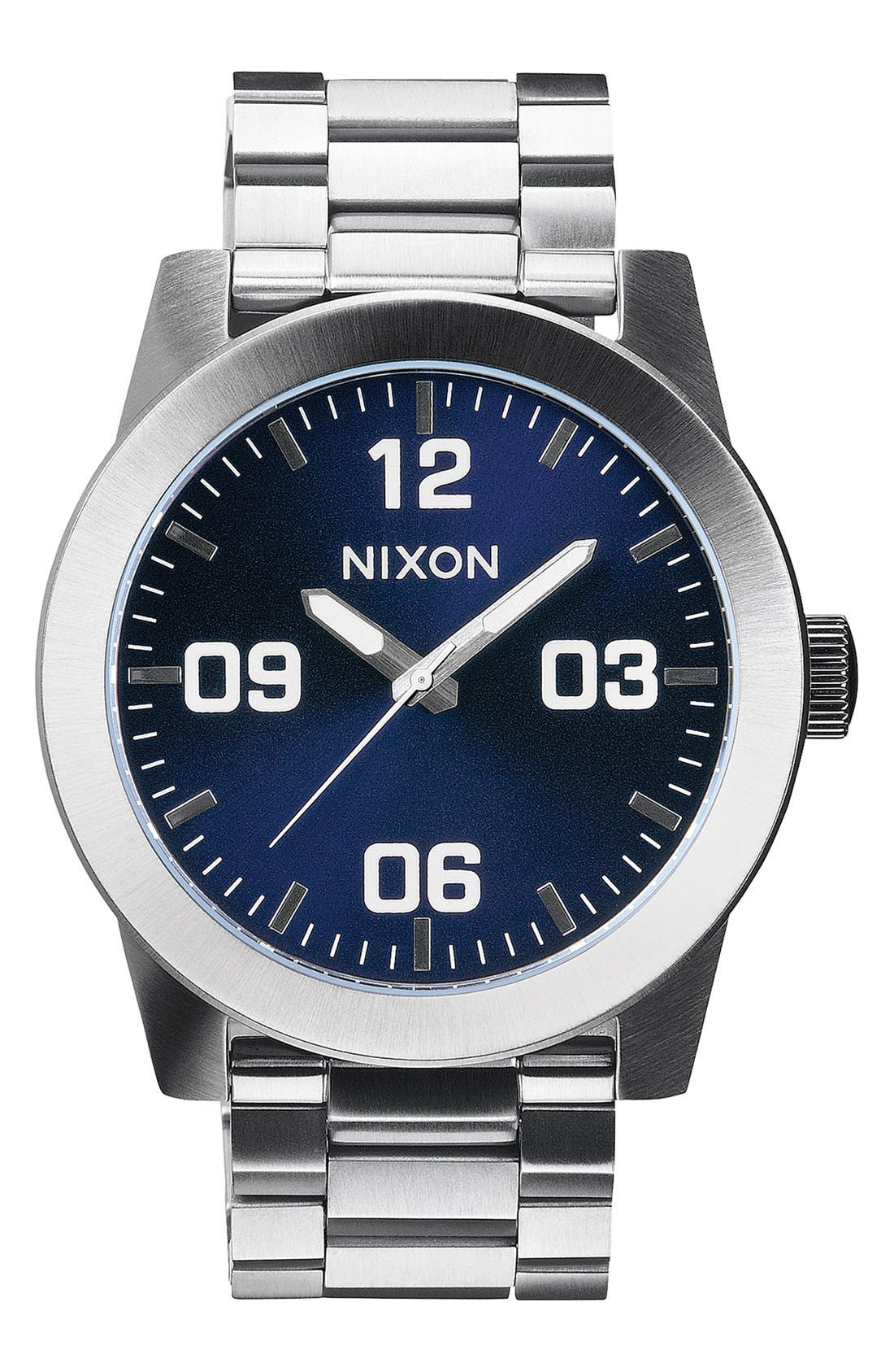 'The Corporal' Bracelet Watch, 48mm,                             Main thumbnail 1, color,                             SILVER/ BLUE SUNRAY