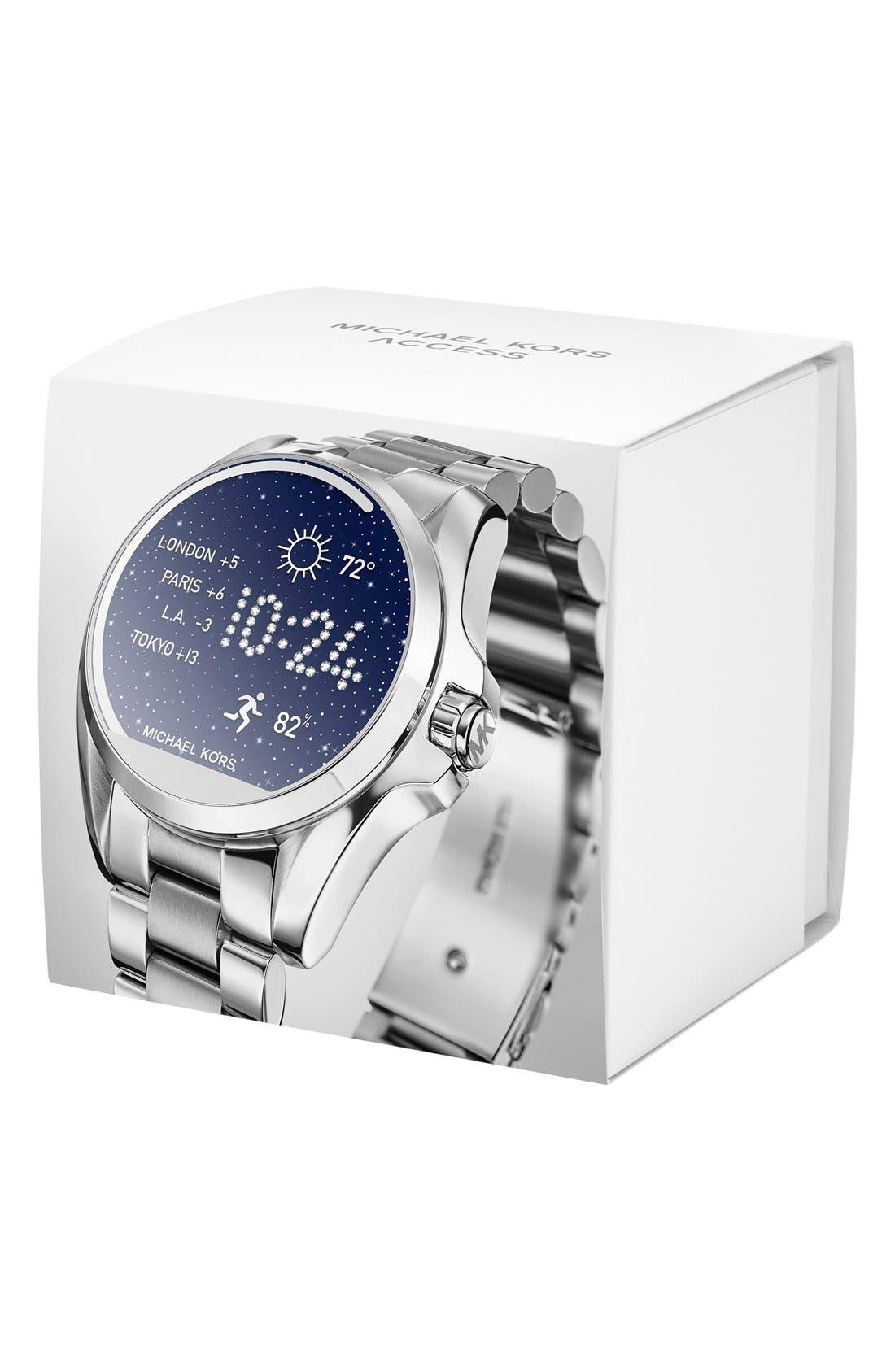 MICHAEL Michael Kors Bradshaw Access Bracelet Smart Watch, 45mm,                             Alternate thumbnail 6, color,                             SILVER/ SILVER