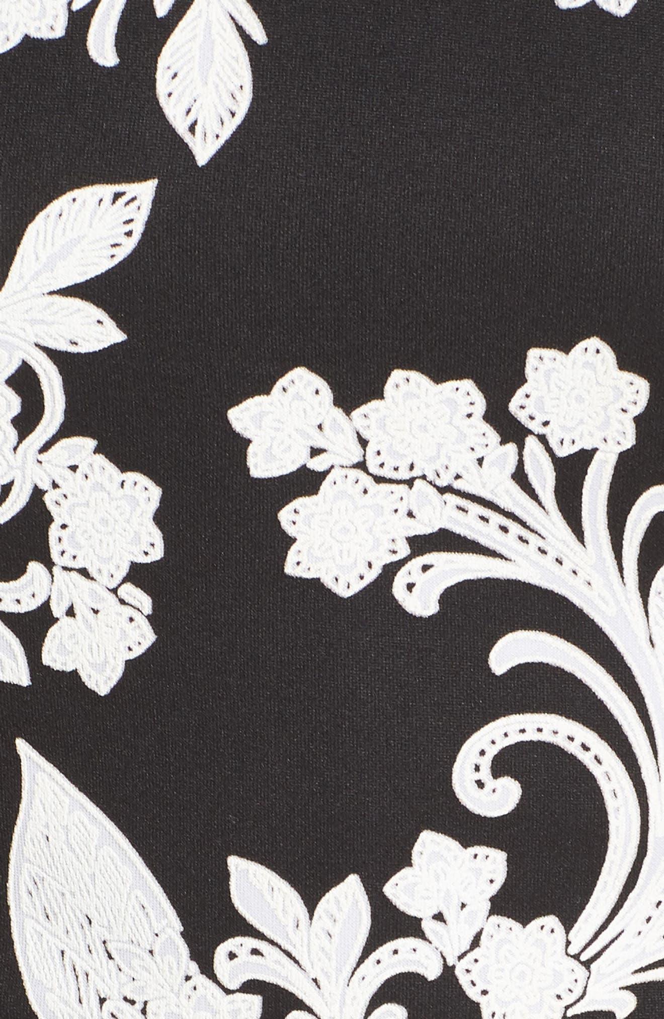 Strappy Back Scuba Halter Dress,                             Alternate thumbnail 6, color,                             BLACK/ CREAM