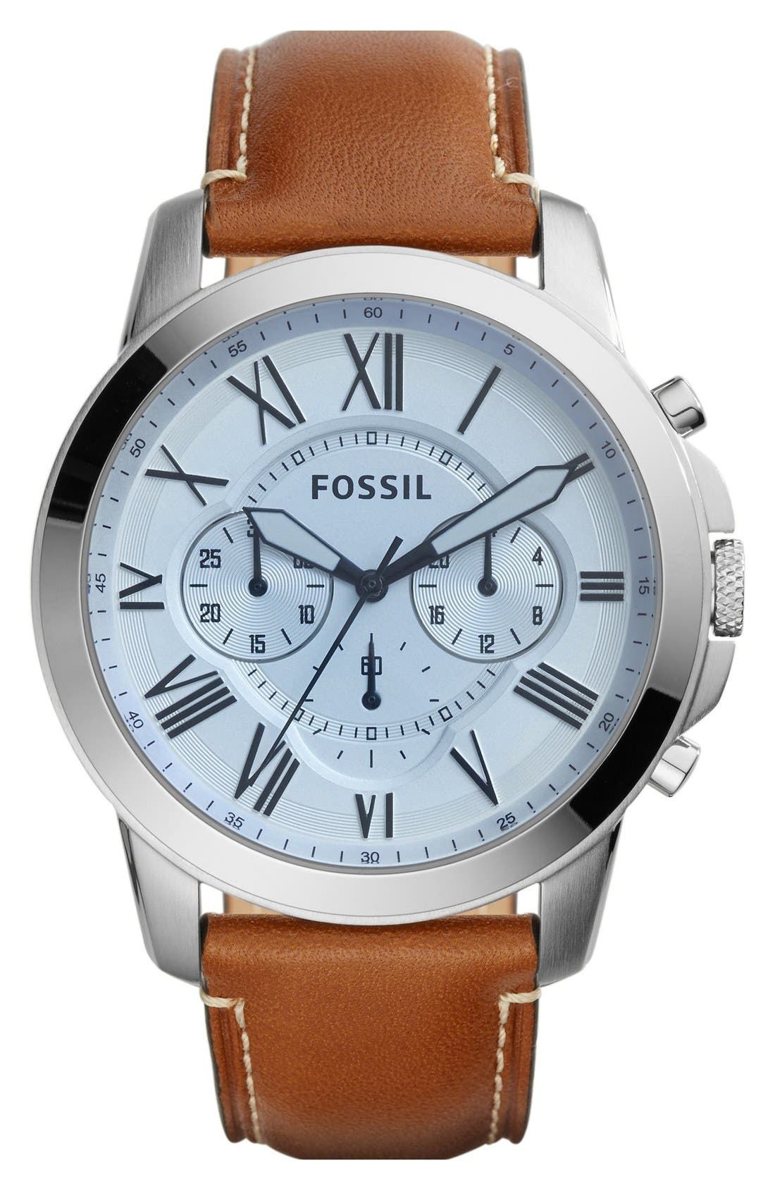 'Grant' Round Chronograph Leather Strap Watch, 44mm,                             Main thumbnail 22, color,