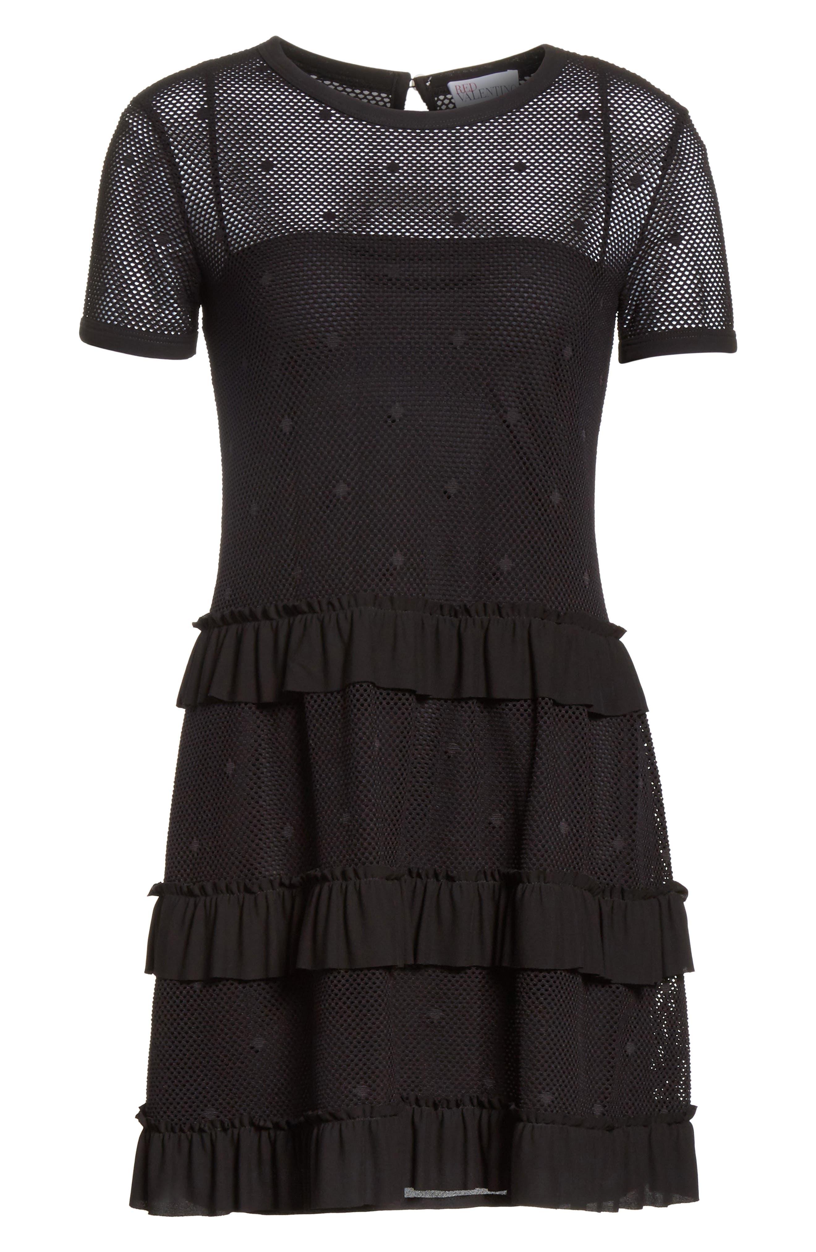Jersey Mesh Point d'Esprit Dress,                             Alternate thumbnail 6, color,