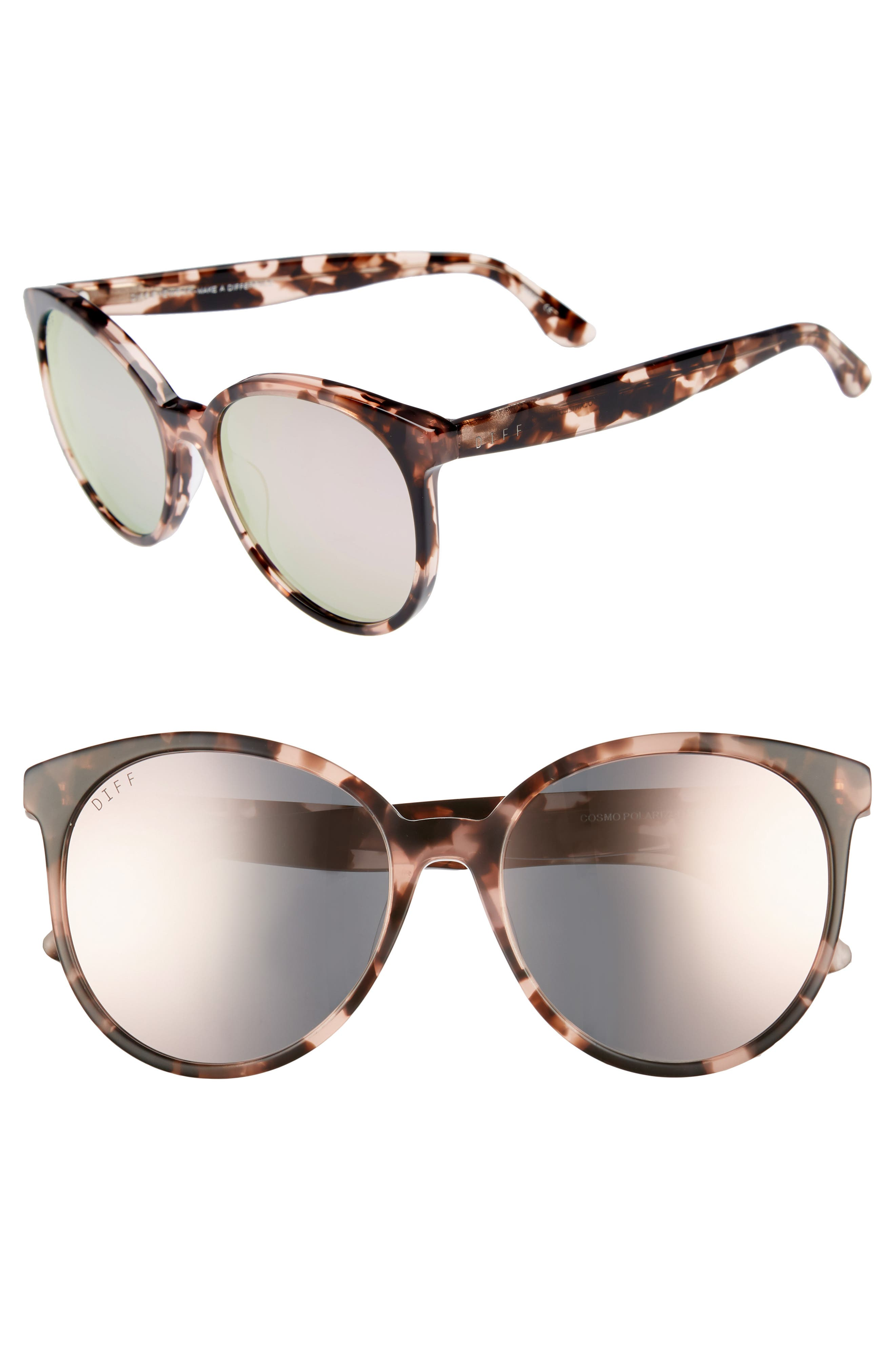 Cosmo 56mm Polarized Round Sunglasses,                         Main,                         color, HIMALAYAN TORTOISE/ TAUPE