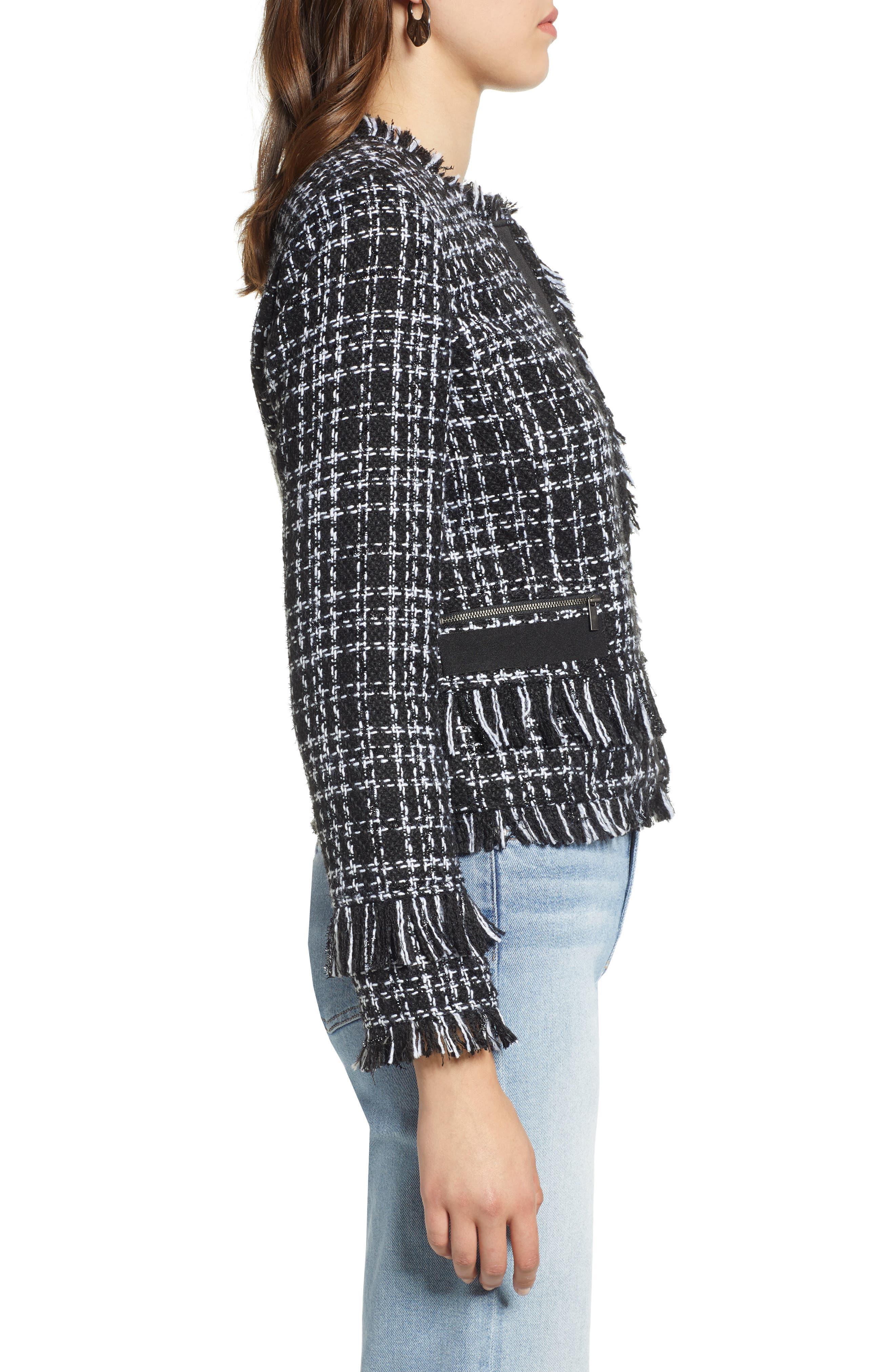 Tweed Jacket,                             Alternate thumbnail 3, color,                             BLACK- WHITE TWEED