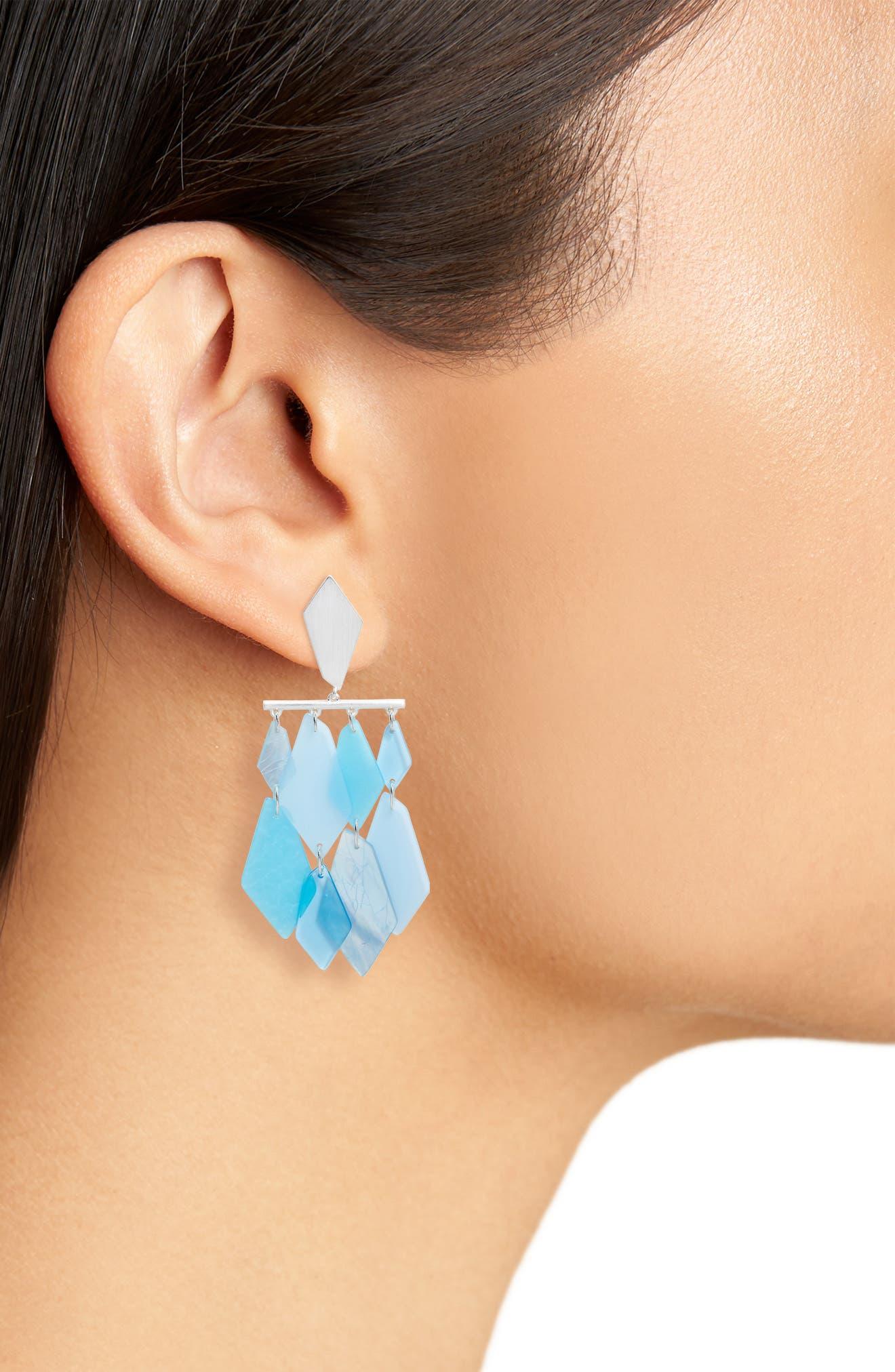 KENDRA SCOTT,                             Hanna Earrings,                             Alternate thumbnail 2, color,                             SKY BLUE MIX/ SILVER