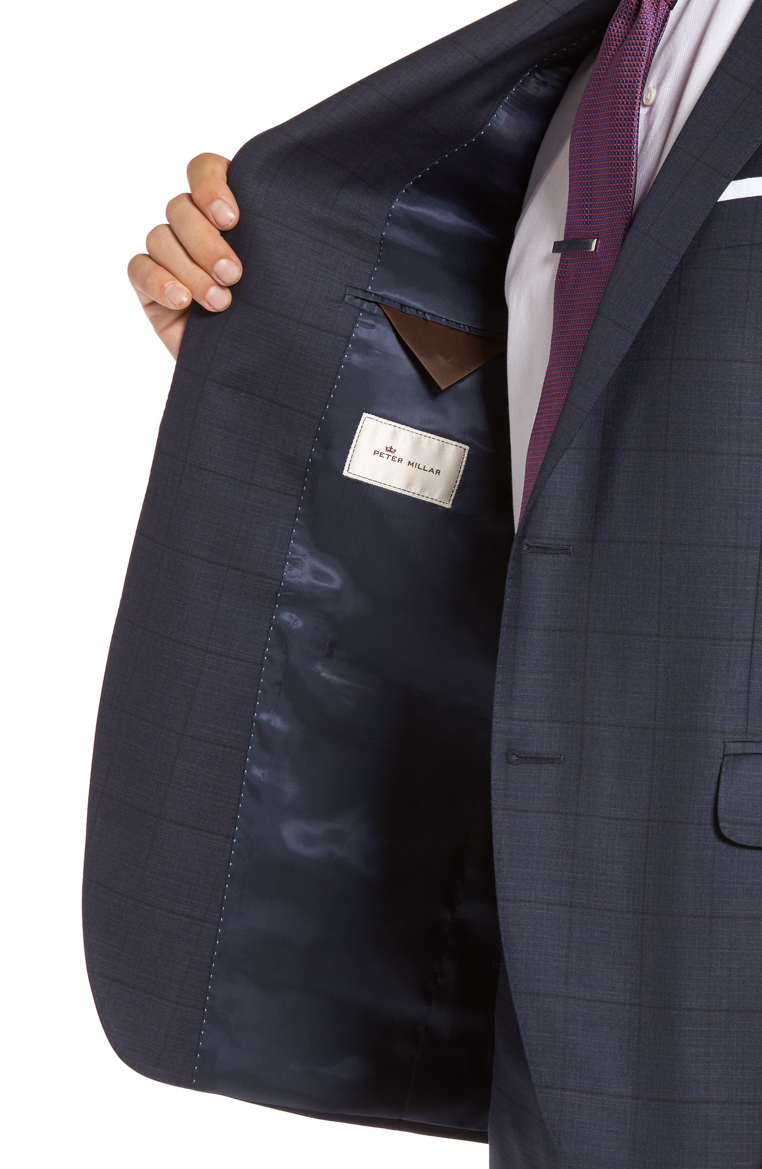 Flynn Classic Fit Windowpane Wool Suit,                             Alternate thumbnail 4, color,                             410