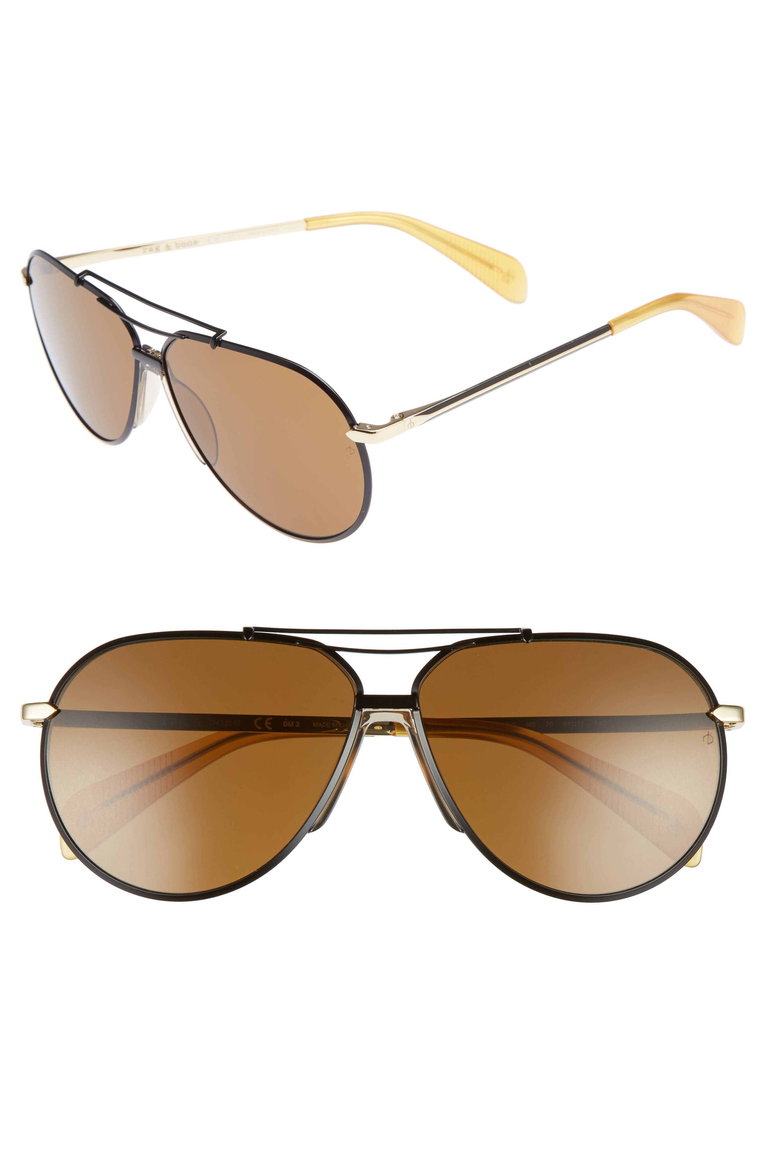 61mm Aviator Sunglasses,                         Main,                         color, BLACK GOLD