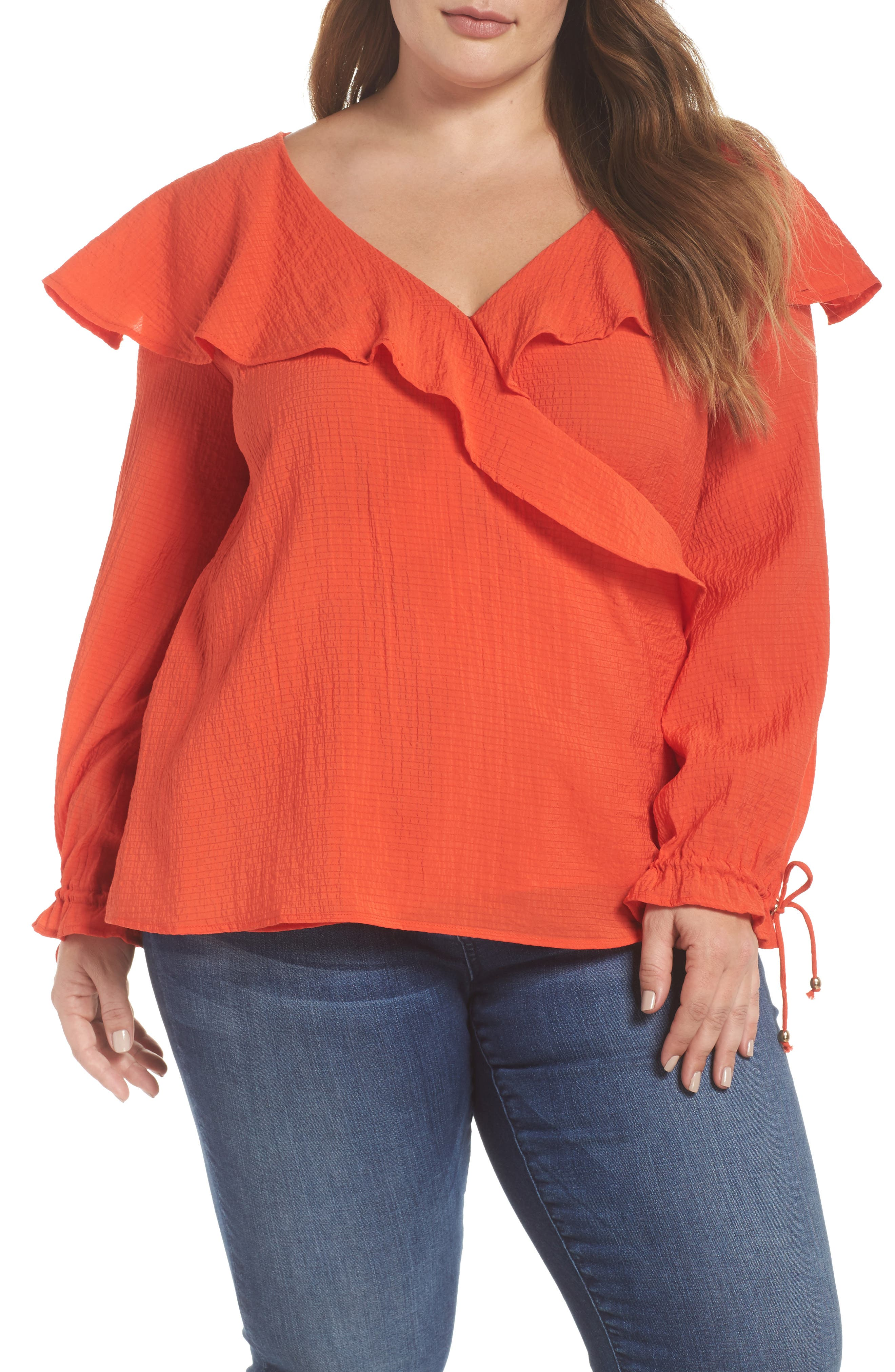 The Rose Ruffle Blouse,                         Main,                         color, RED