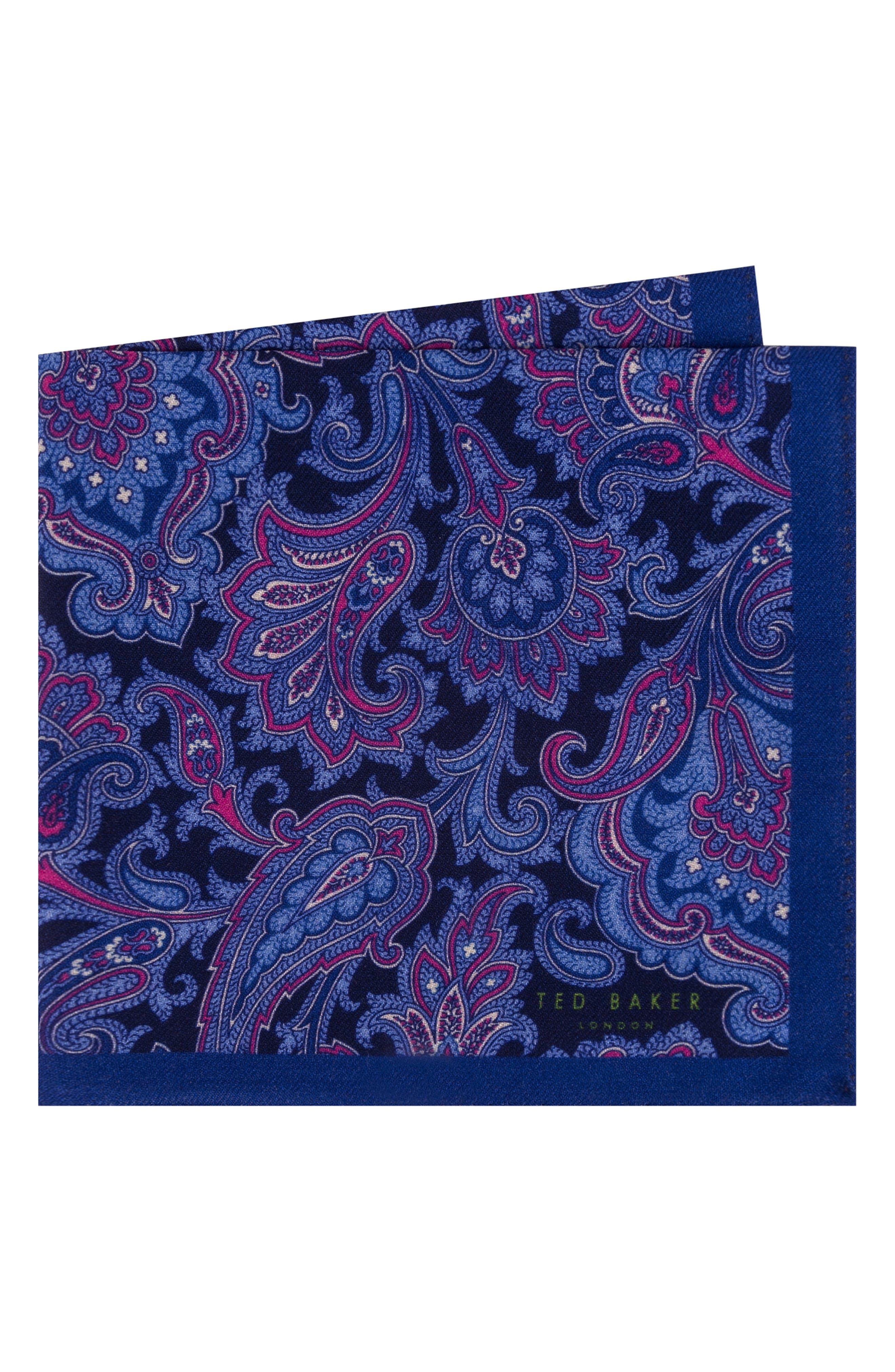 Paisley Wool Pocket Square,                         Main,                         color, NAVY