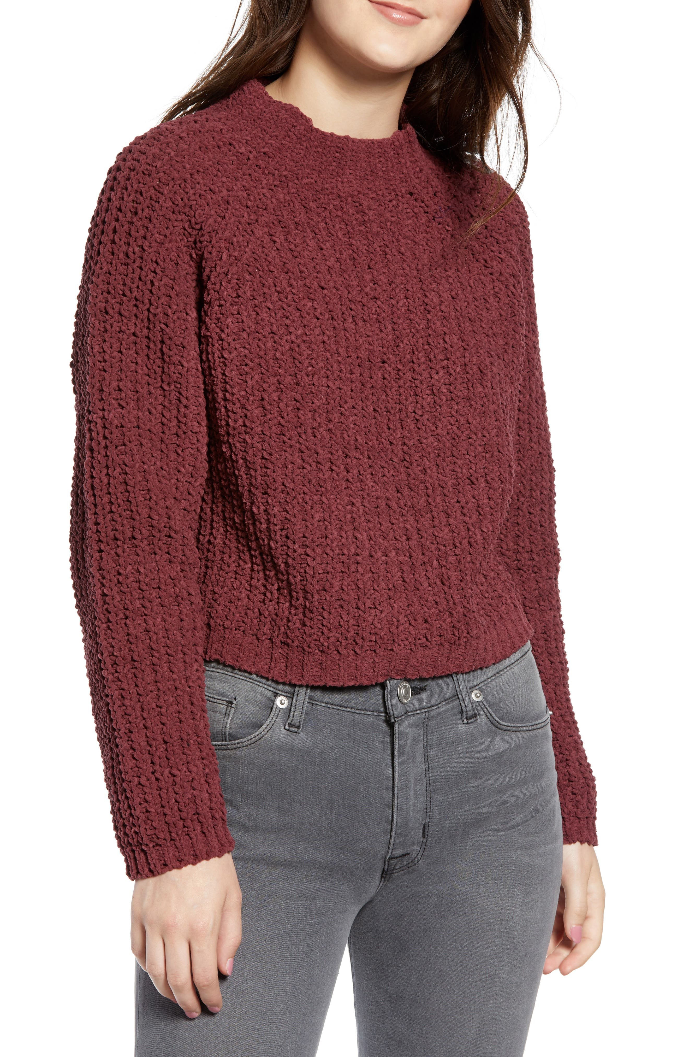 Chenille Sweater,                         Main,                         color, RED RUMBA