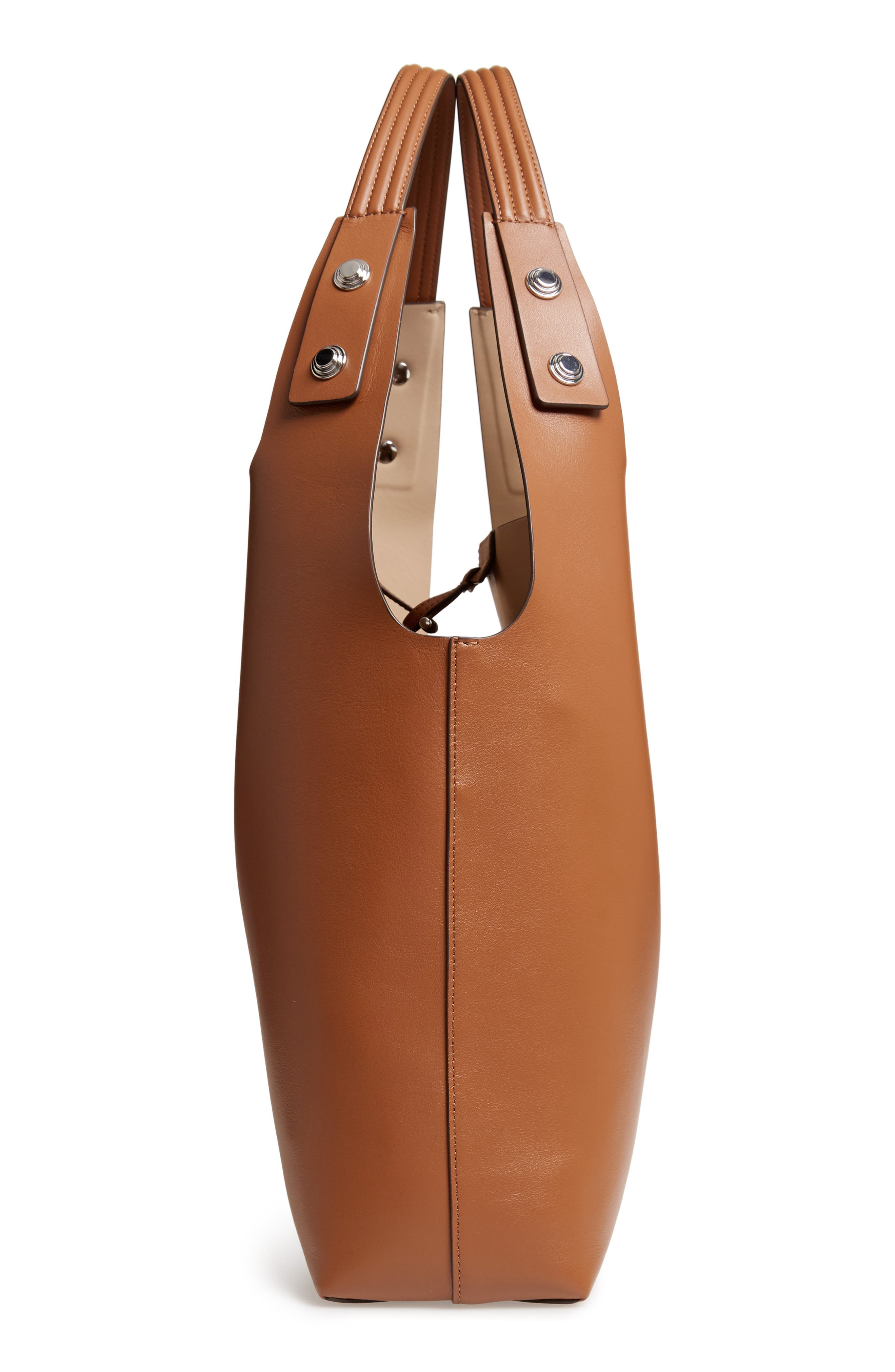 Rory Leather Tote,                             Alternate thumbnail 5, color,                             LIGHT UMBER