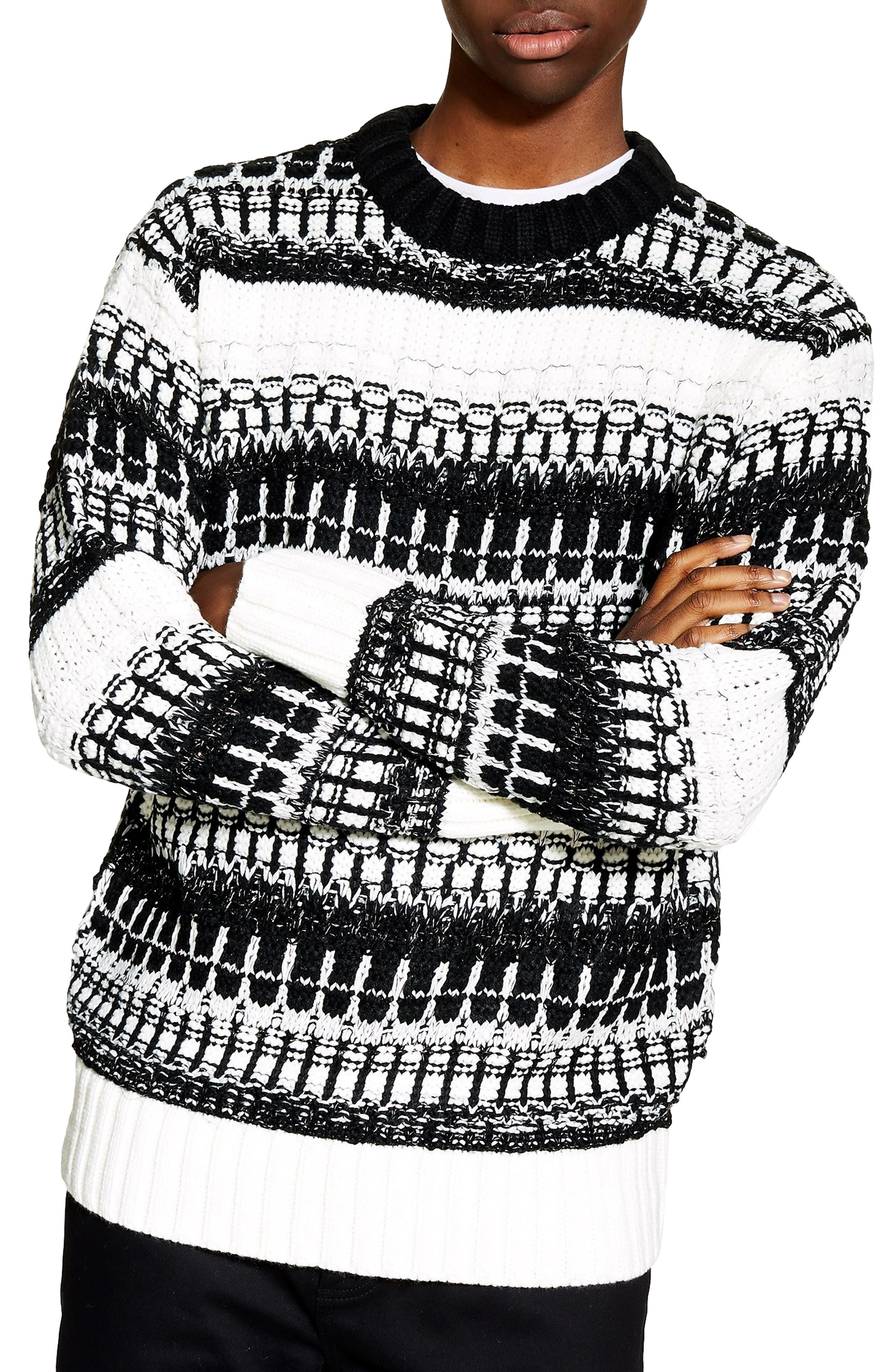 TOPMAN,                             Mono Texture Sweater,                             Main thumbnail 1, color,                             CREAM MULTI