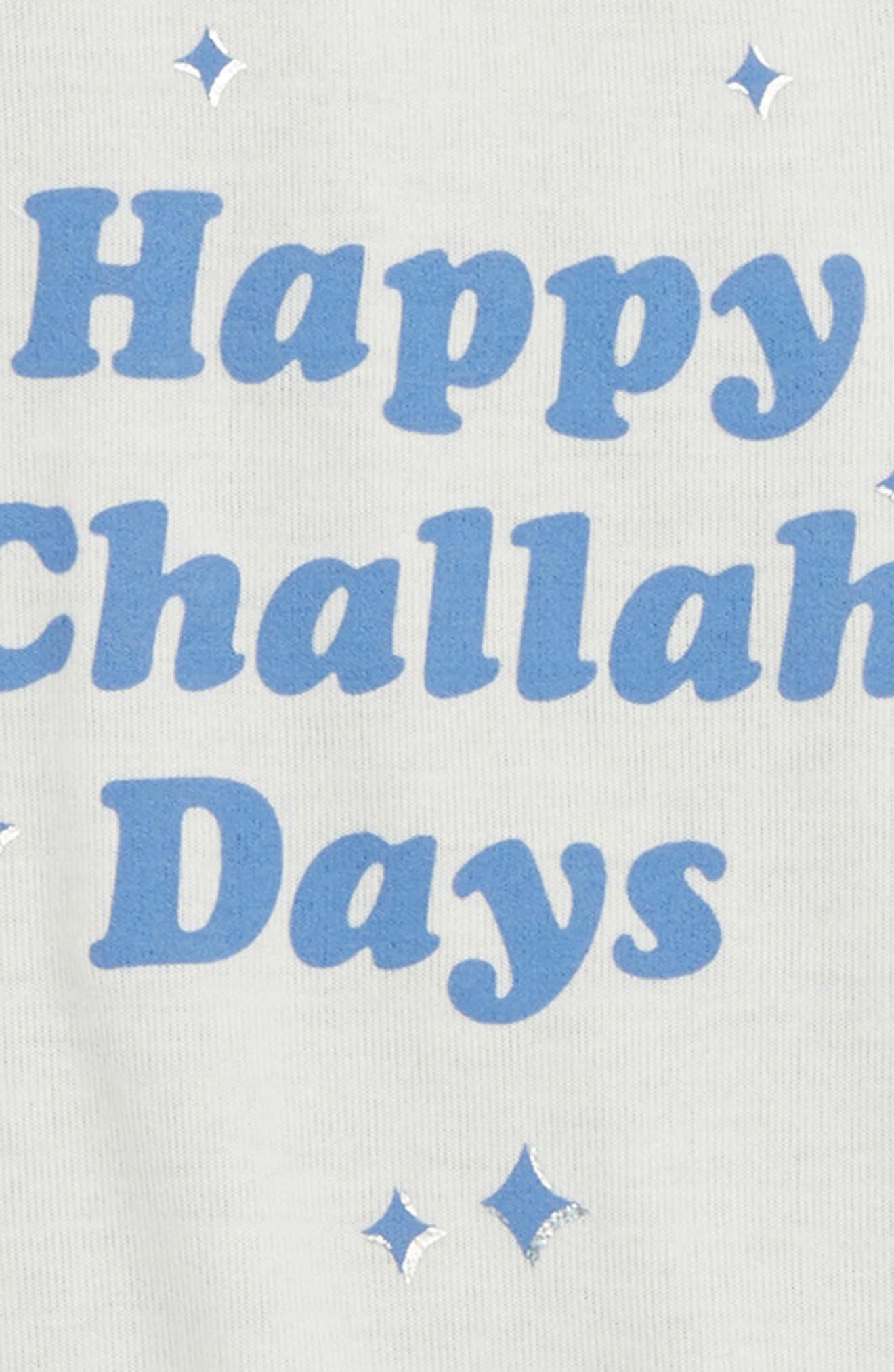 Happy Challah Days Baseball Tee,                             Alternate thumbnail 2, color,                             BLUE/ IVORY
