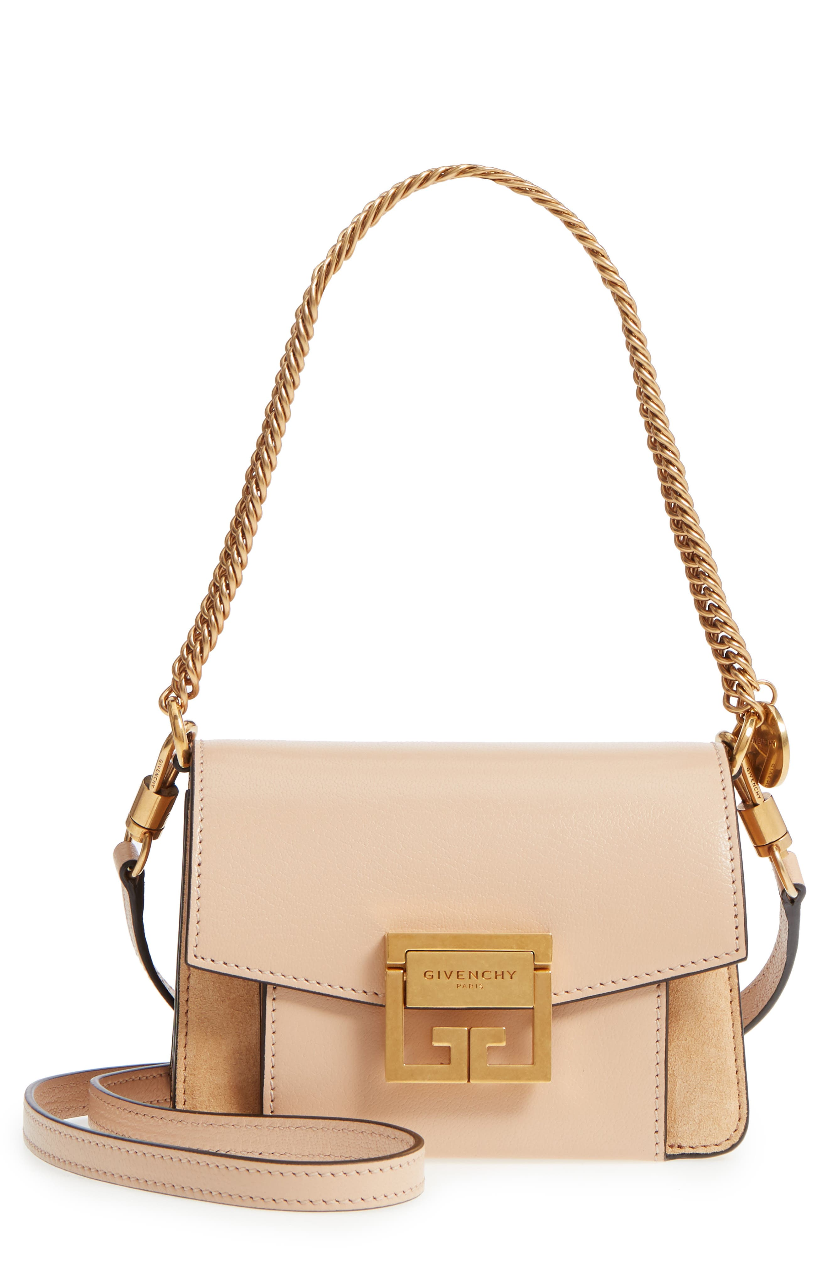 Mini GV3 Leather & Suede Crossbody Bag,                             Main thumbnail 1, color,                             NUDE/ LIGHT BEIGE