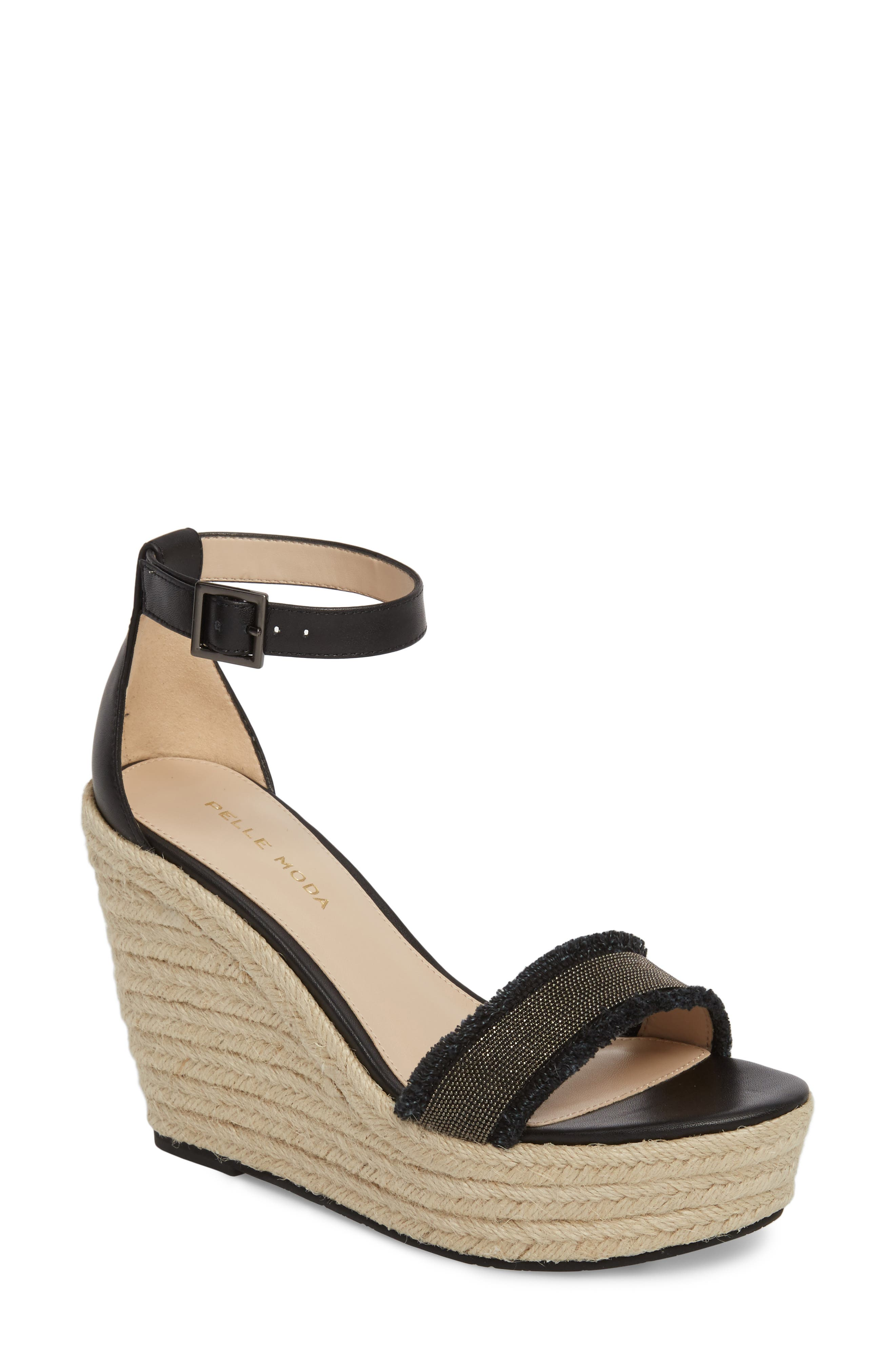 Radley Espadrille Wedge Sandal,                         Main,                         color, BLACK LEATHER