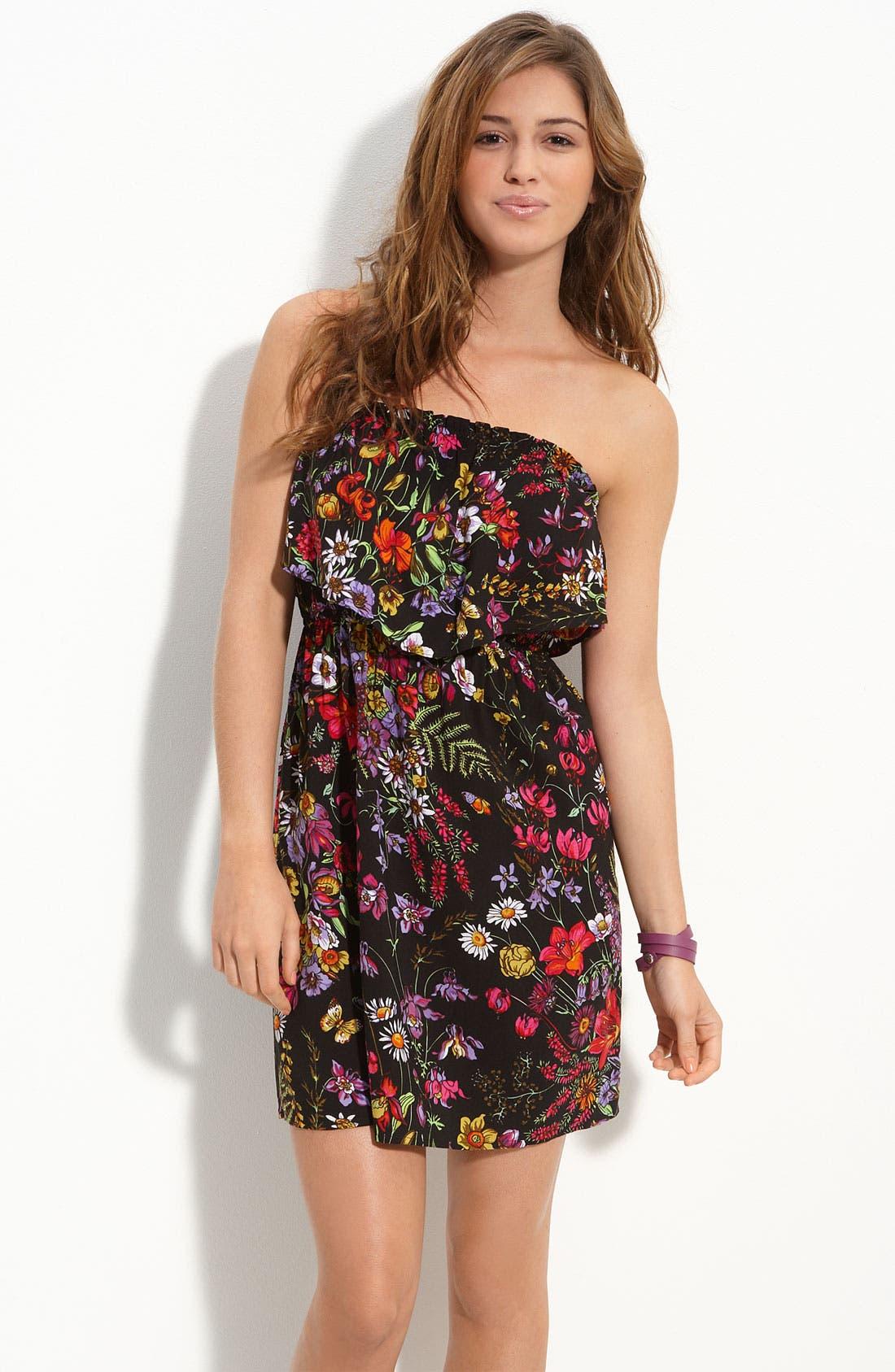 Ruffled Strapless Dress,                             Main thumbnail 1, color,                             001