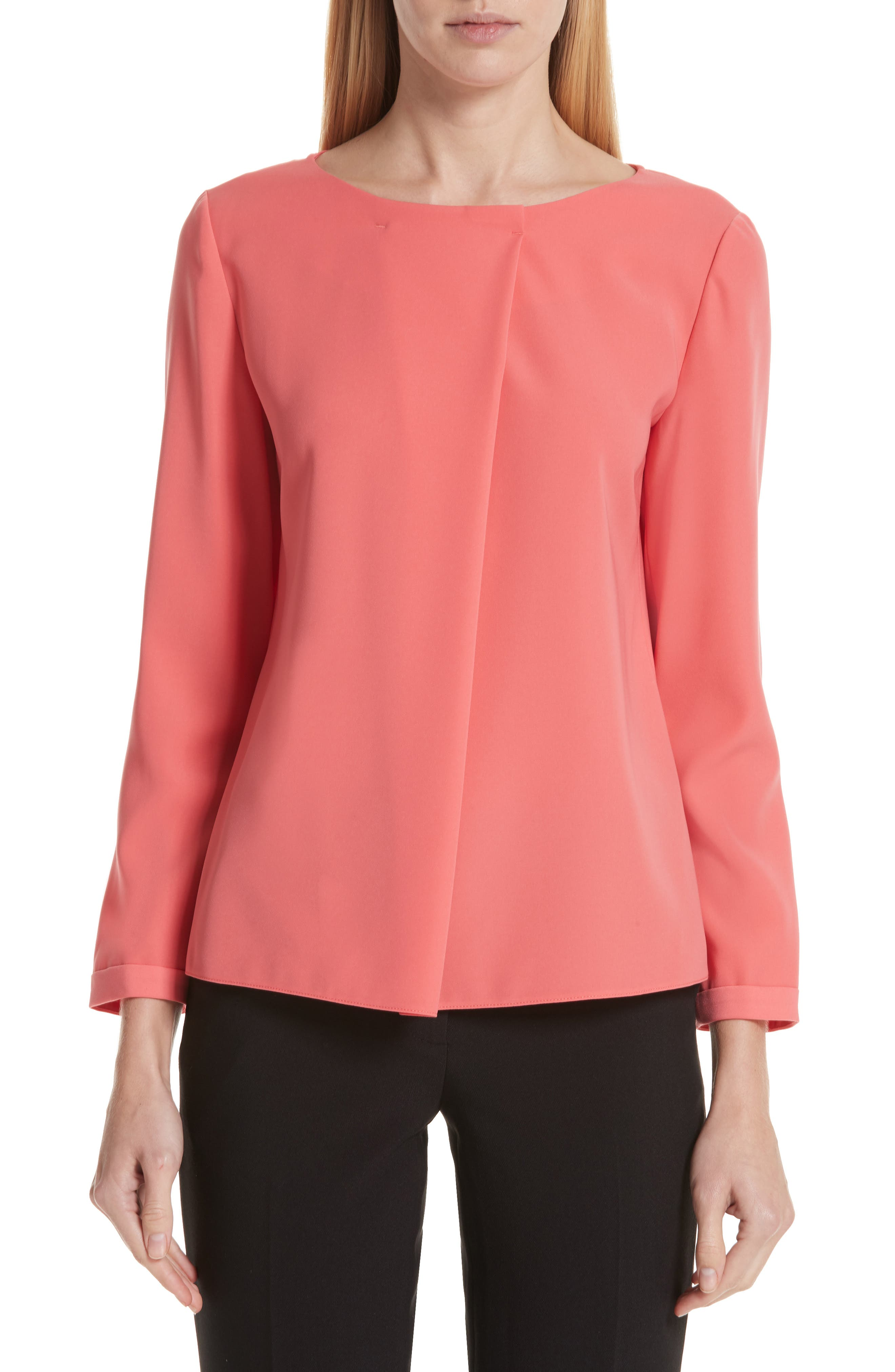 EMPORIO ARMANI Asymmetrical Blouse, Main, color, SUNRISE RED