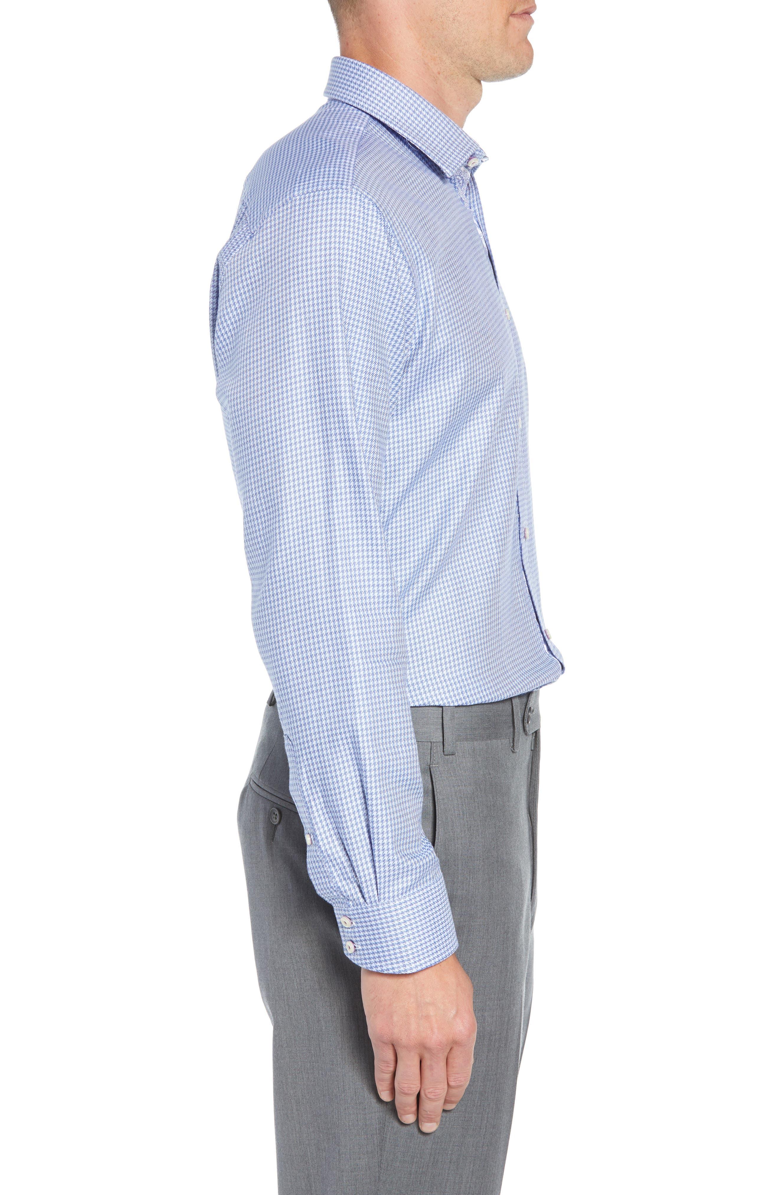 Franks Trim Fit Houndstooth Dress Shirt,                             Alternate thumbnail 4, color,                             BLUE