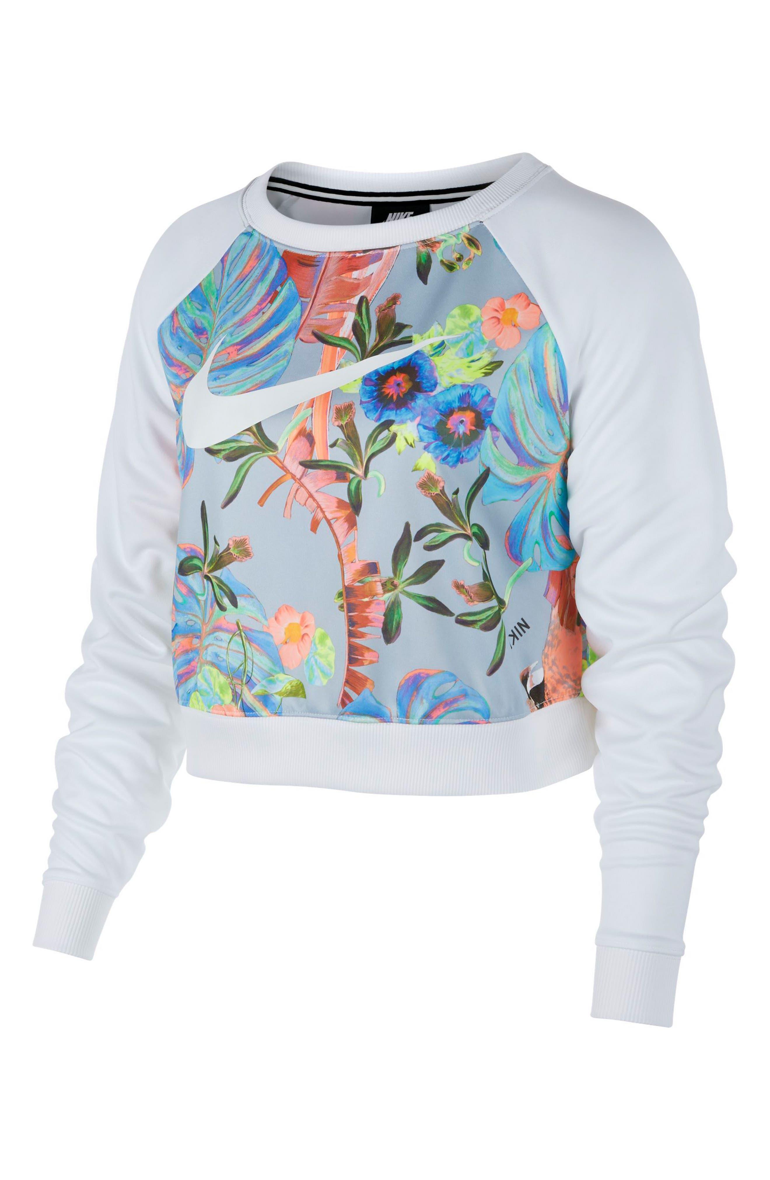 Print Sweatshirt, Main, color, WHITE/ PURE PLATINUM/ WHITE