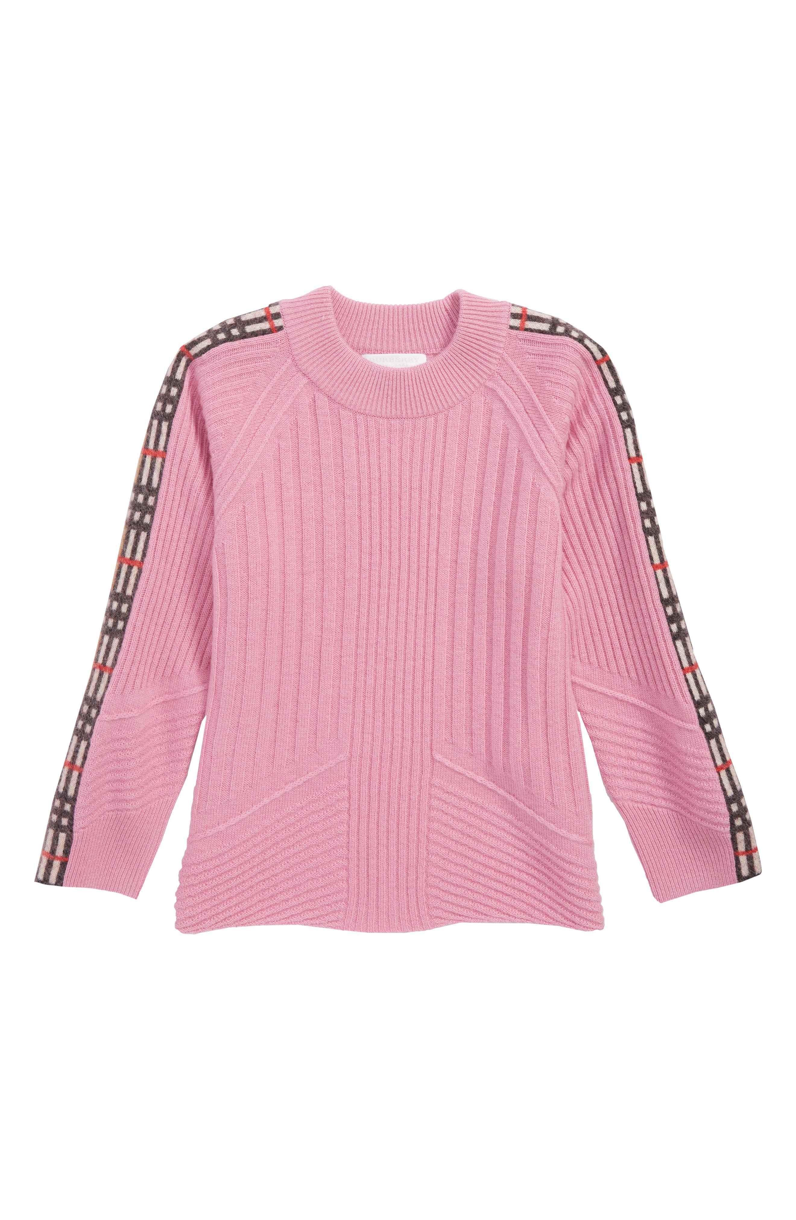 Cathie Mixed Stitch Pullover Sweater,                             Main thumbnail 1, color,                             ROSE PINK