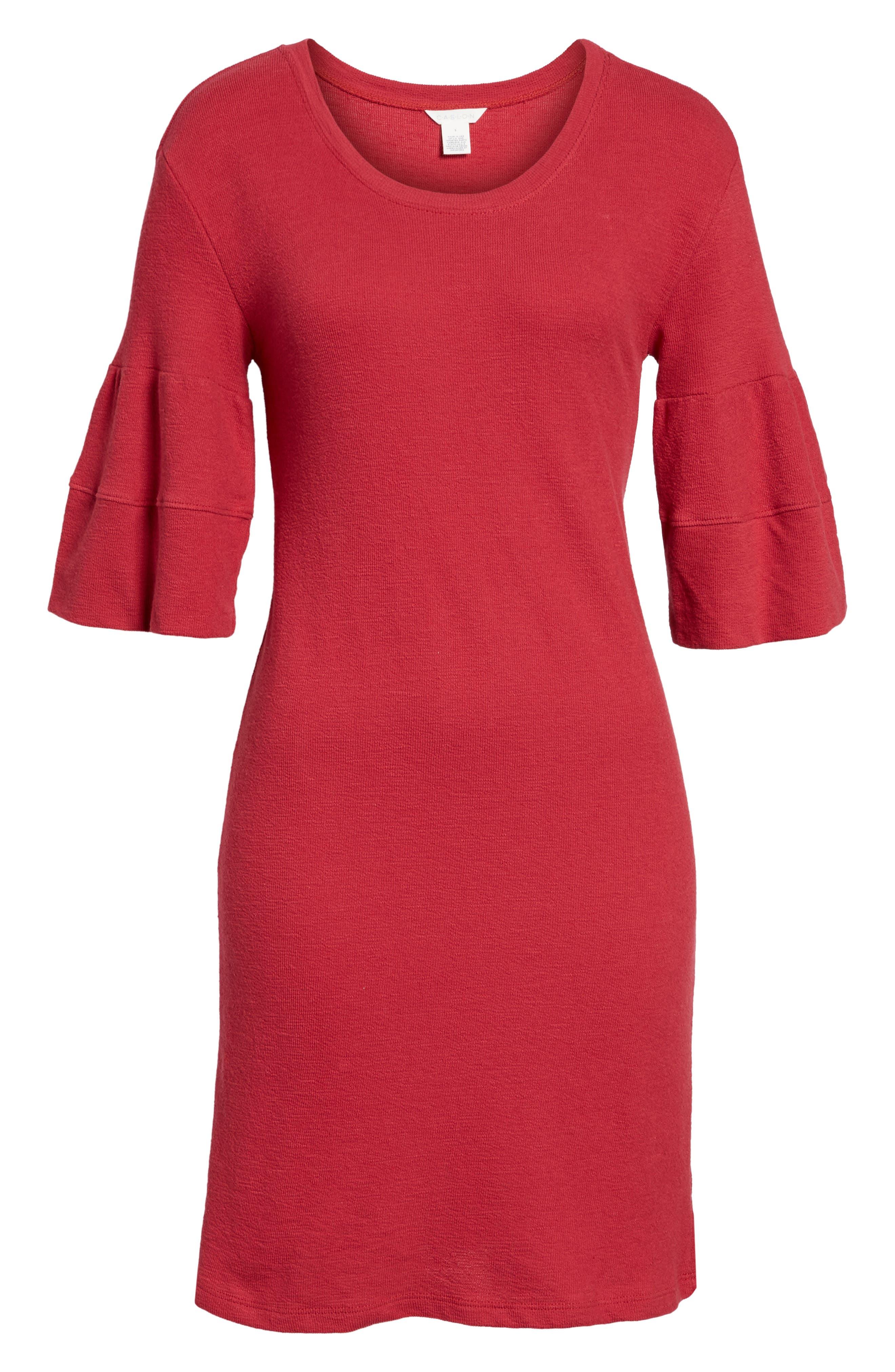 Ruffle Sleeve Knit Dress,                             Alternate thumbnail 18, color,