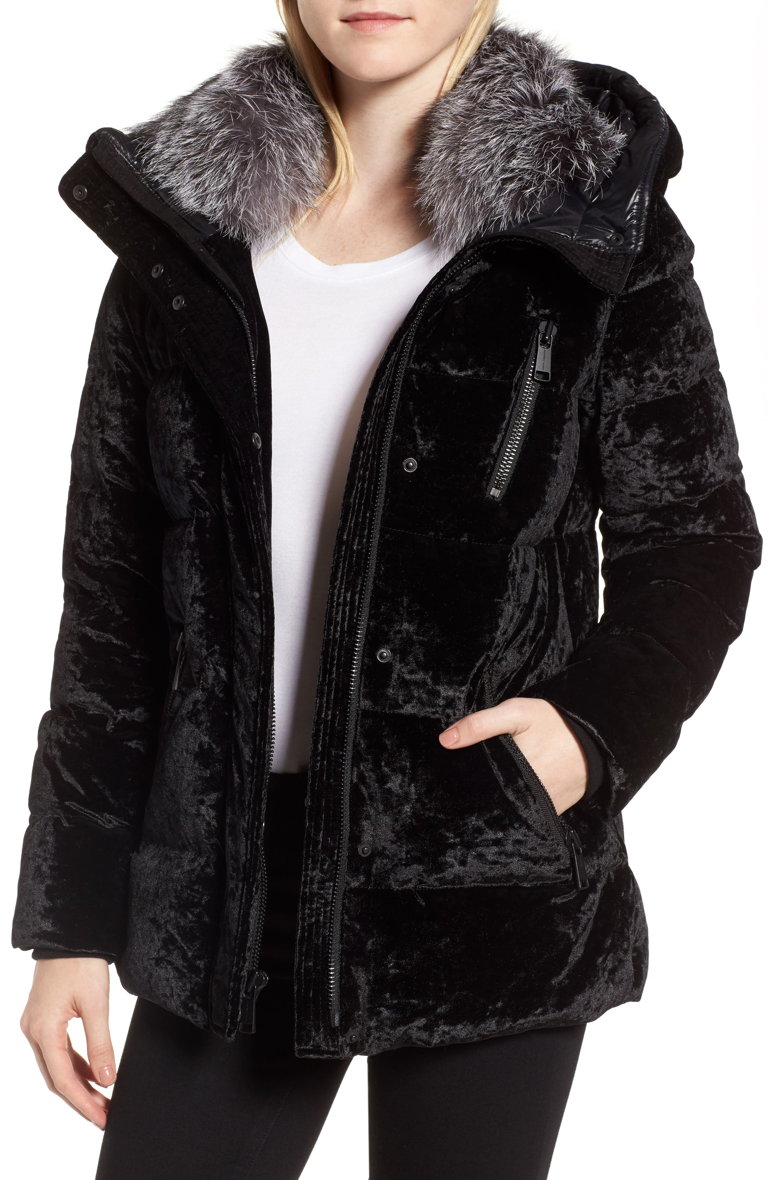 Hooded Down Jacket with Genuine Fox Fur Trim,                             Main thumbnail 1, color,                             001