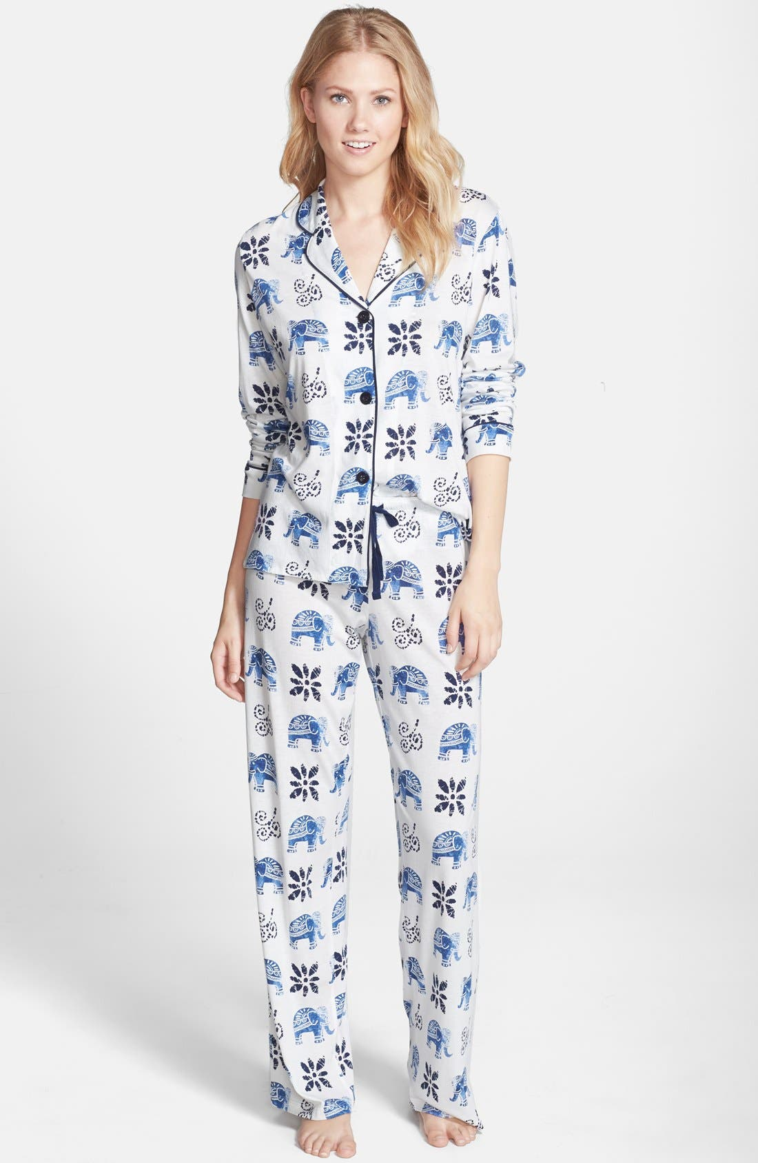 Elephant Print Jersey Pajamas,                             Main thumbnail 1, color,                             900