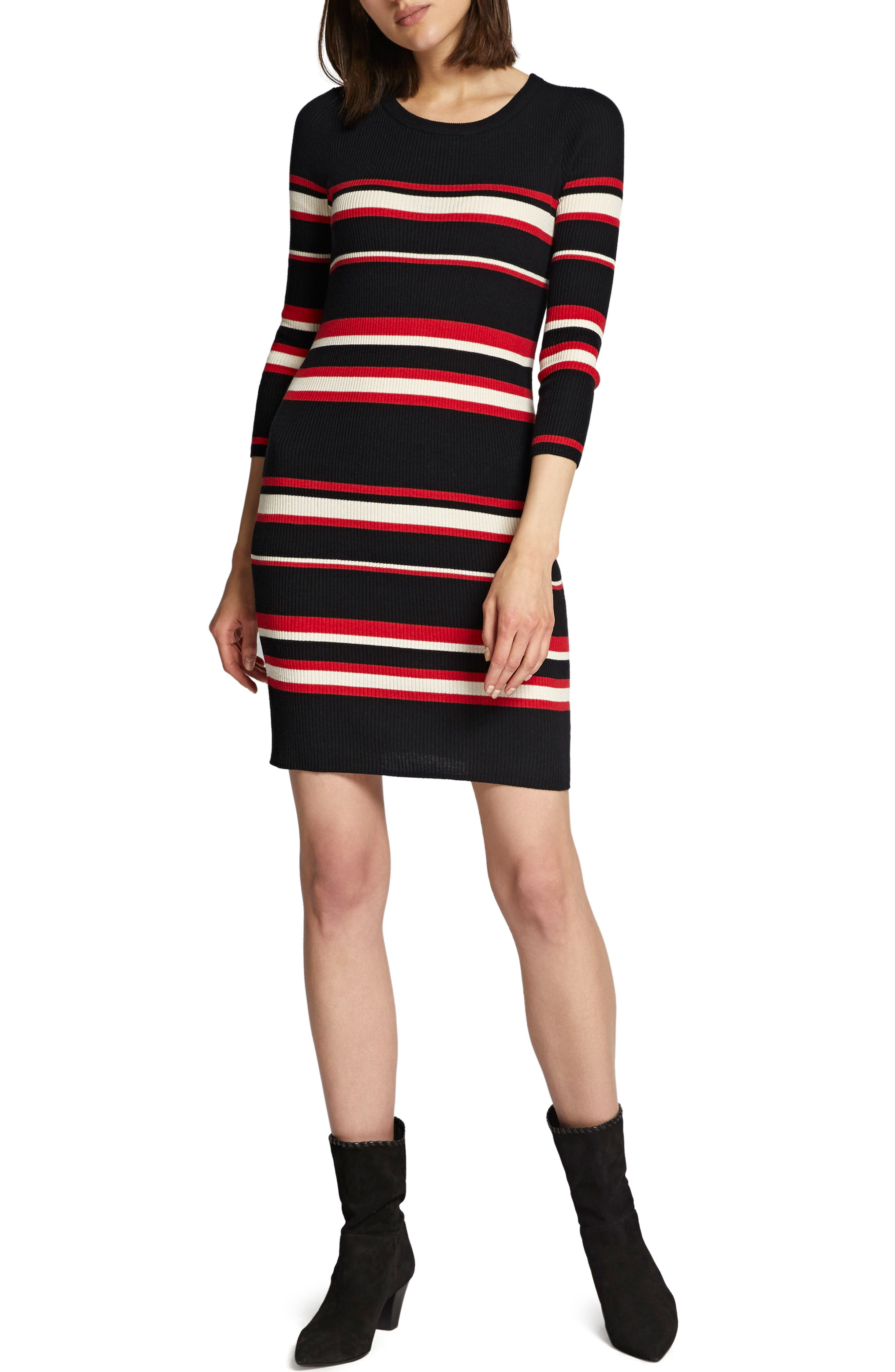 Trailblaze Body-Con Cotton Blend Sweater Dress,                             Main thumbnail 1, color,                             MULTI STRIPE