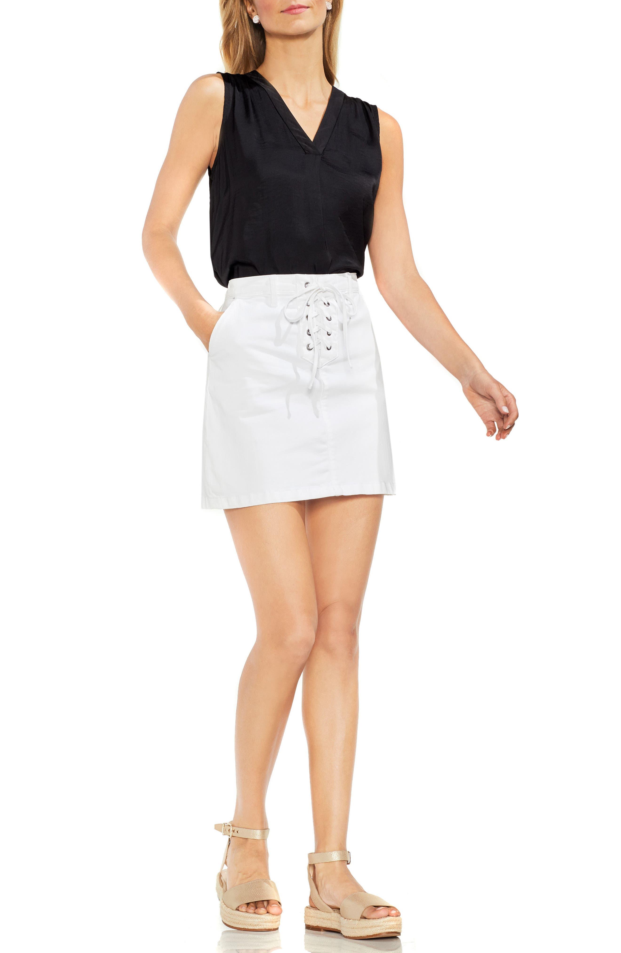 Lace-Up Stretch Cotton Mini Skirt,                             Alternate thumbnail 3, color,                             ULTRA WHITE