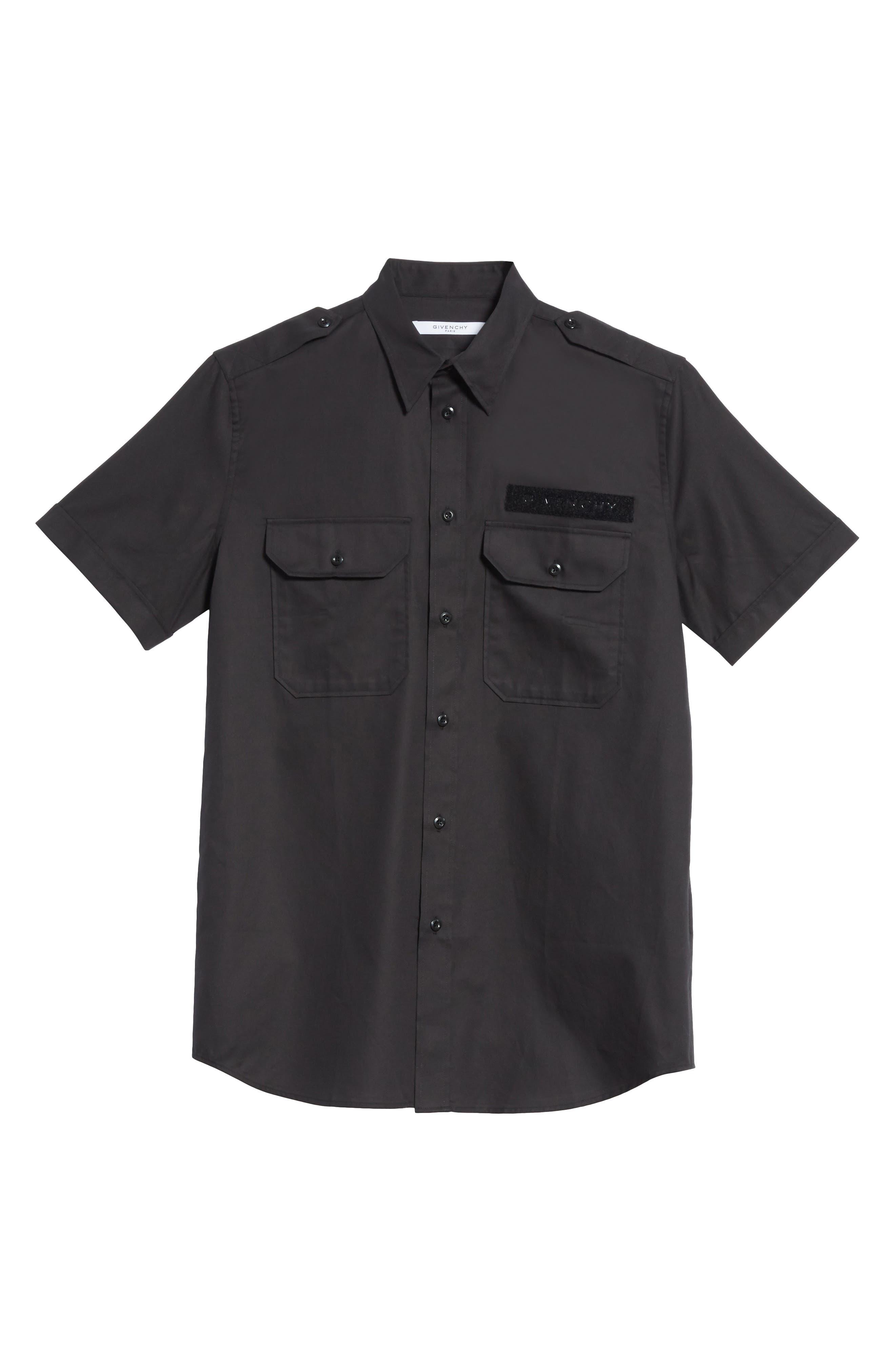 Short Sleeve Woven Shirt,                             Alternate thumbnail 6, color,                             001