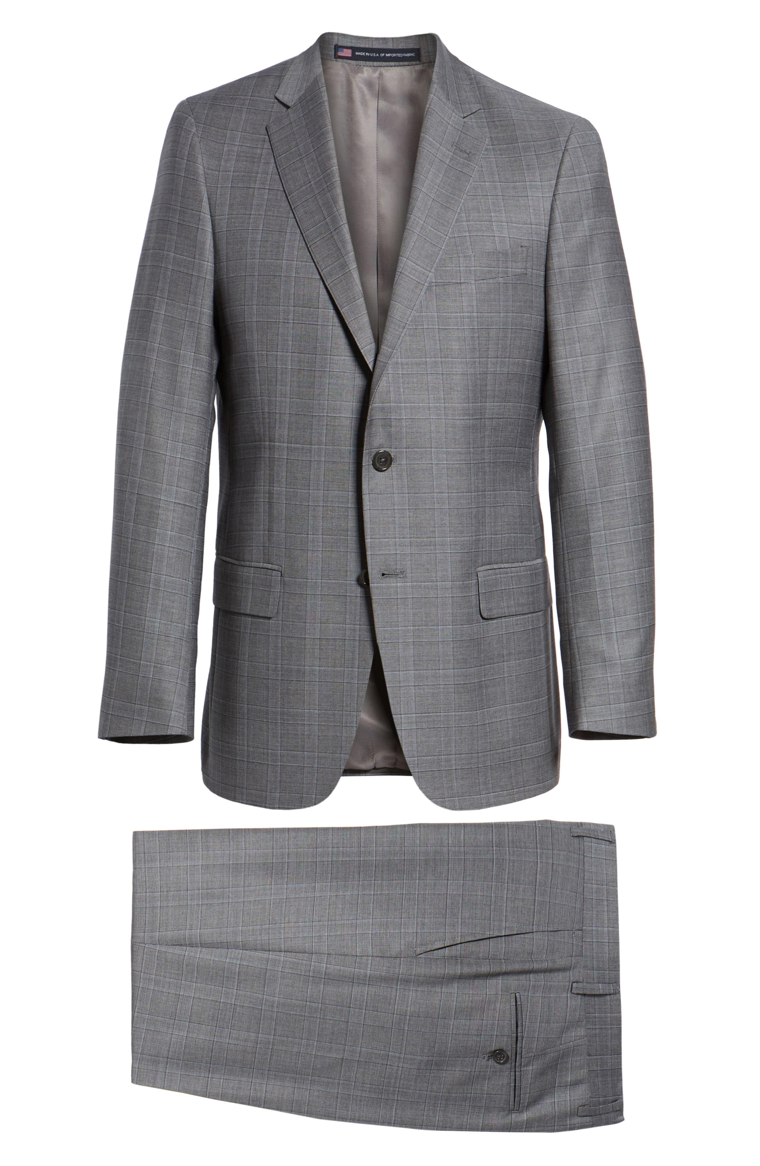 New York Classic Fit Plaid Wool Suit,                             Alternate thumbnail 8, color,                             MID GREY