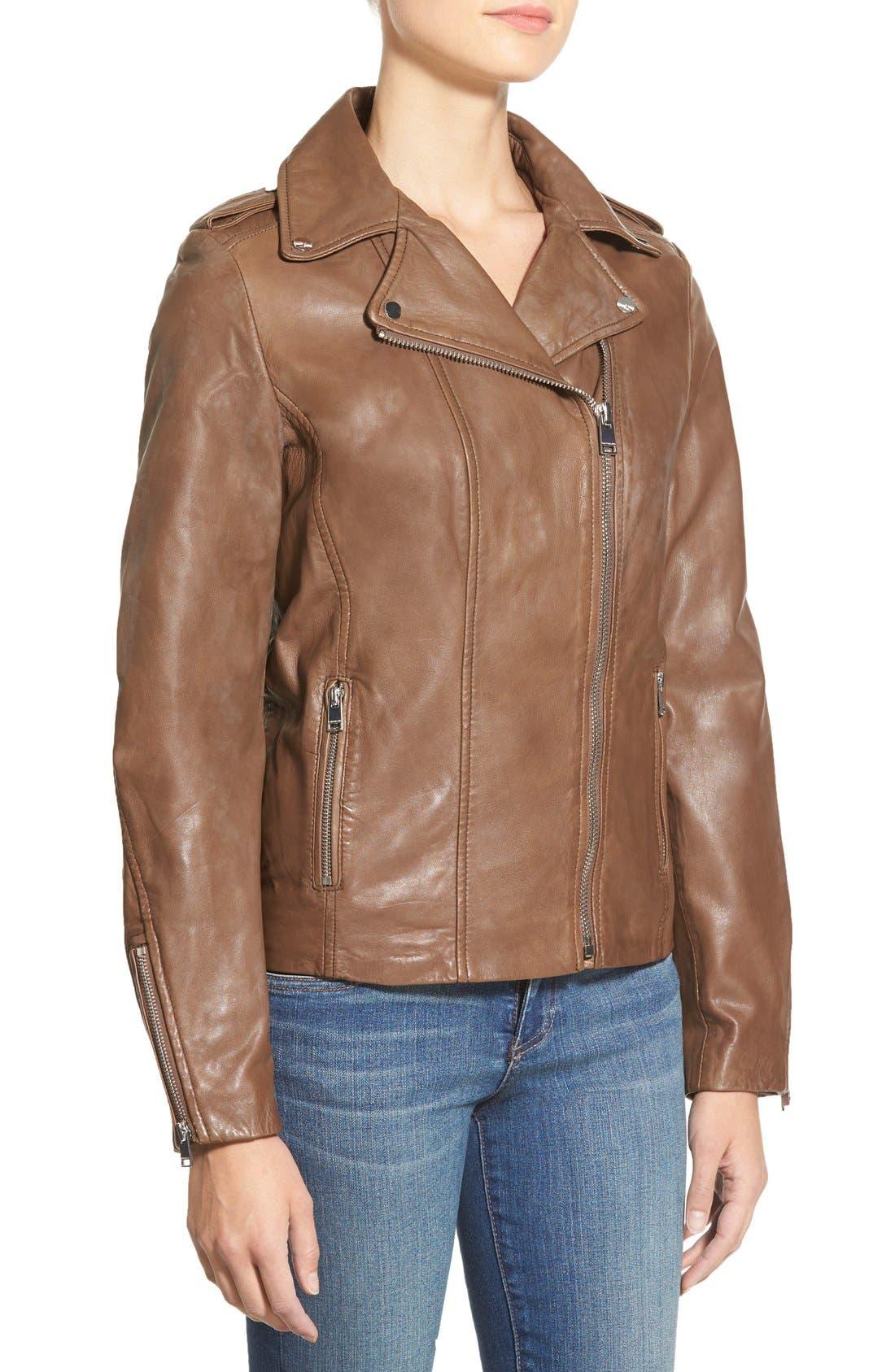 TerriLambskin LeatherMotoJacket,                             Alternate thumbnail 4, color,                             232