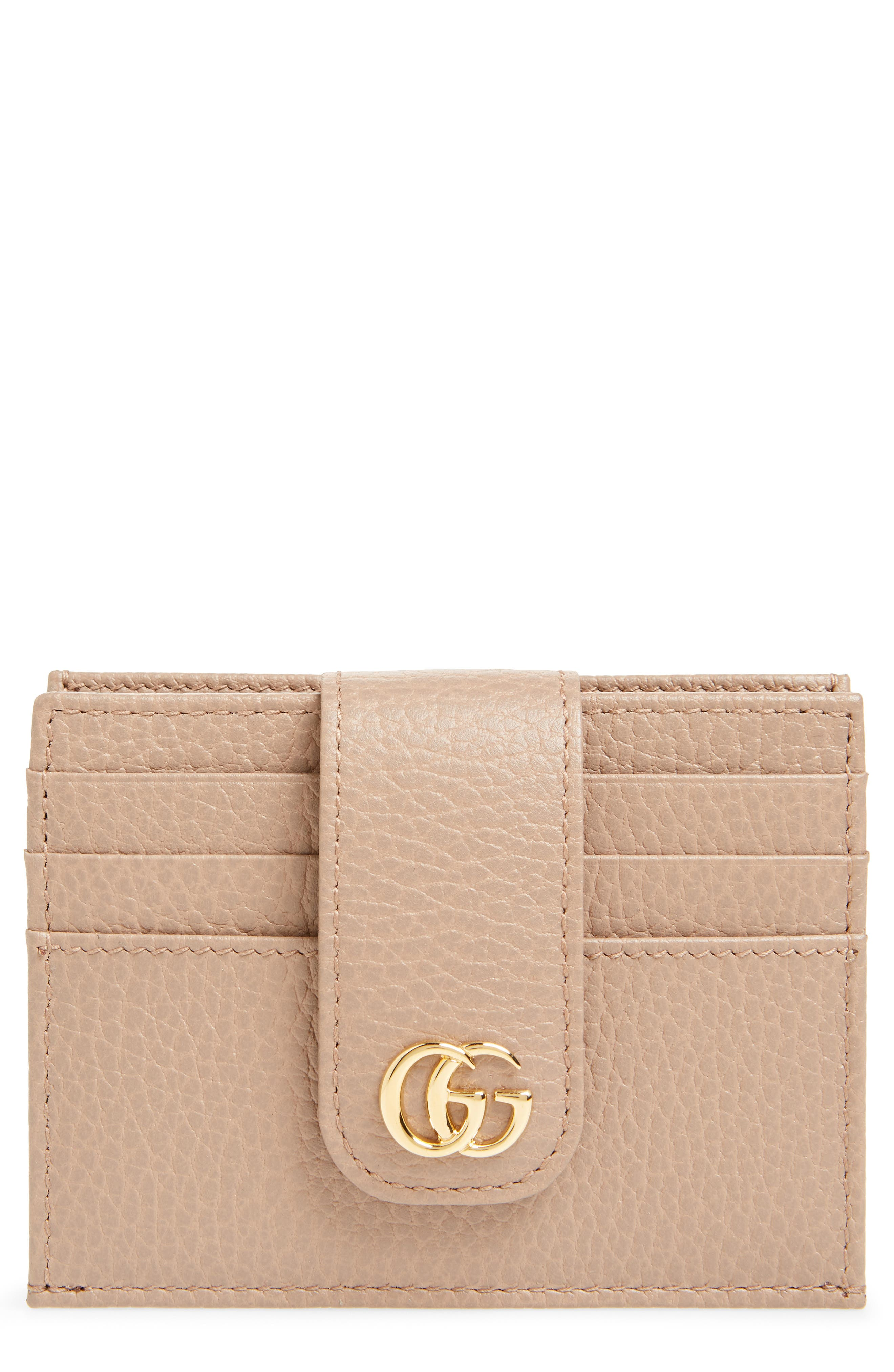 GG Marmont Leather Card Case,                         Main,                         color, PORCELAIN ROSE