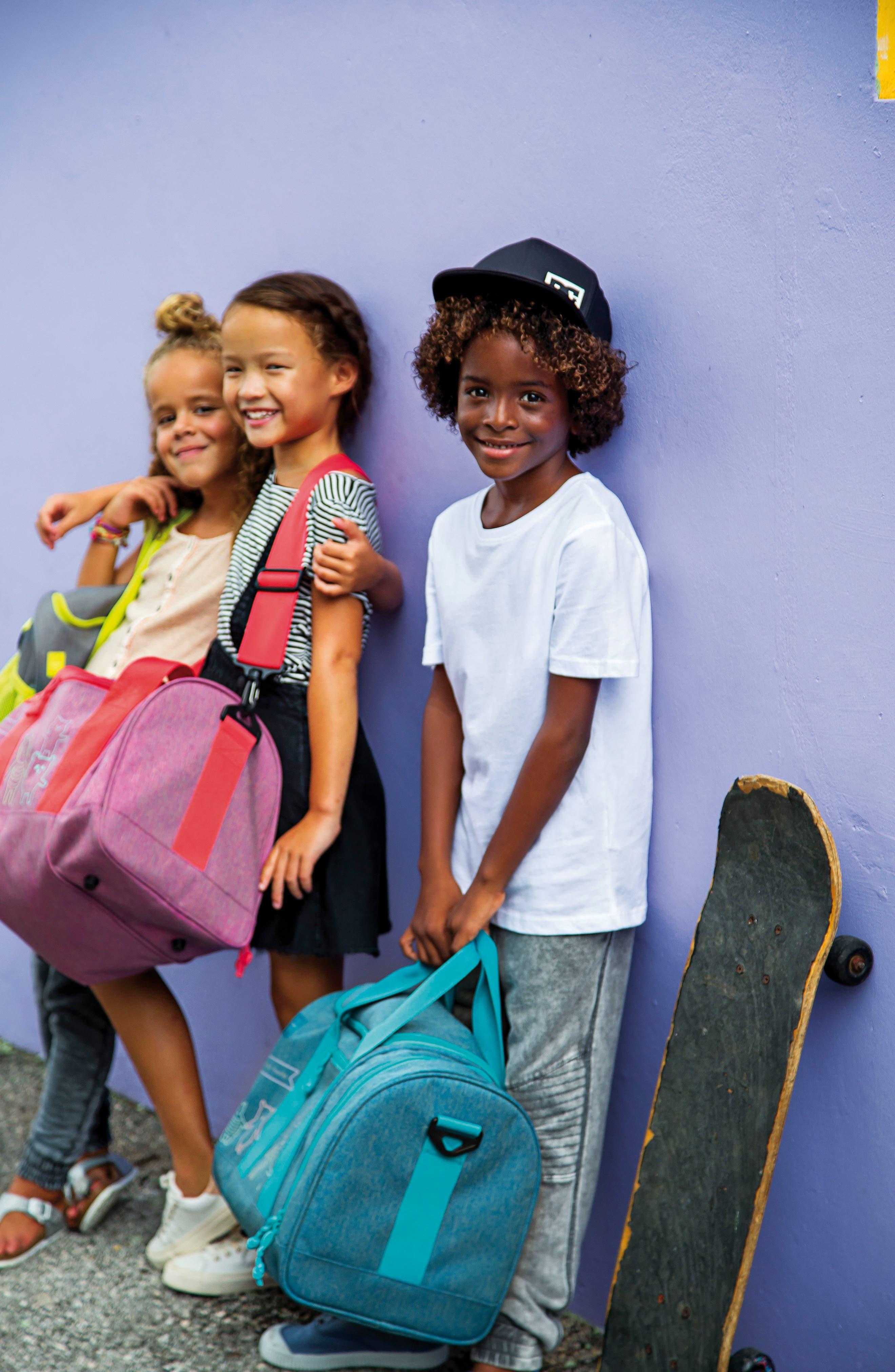 Mini About Friends Duffel Bag,                             Alternate thumbnail 5, color,                             MELANGE BLUE