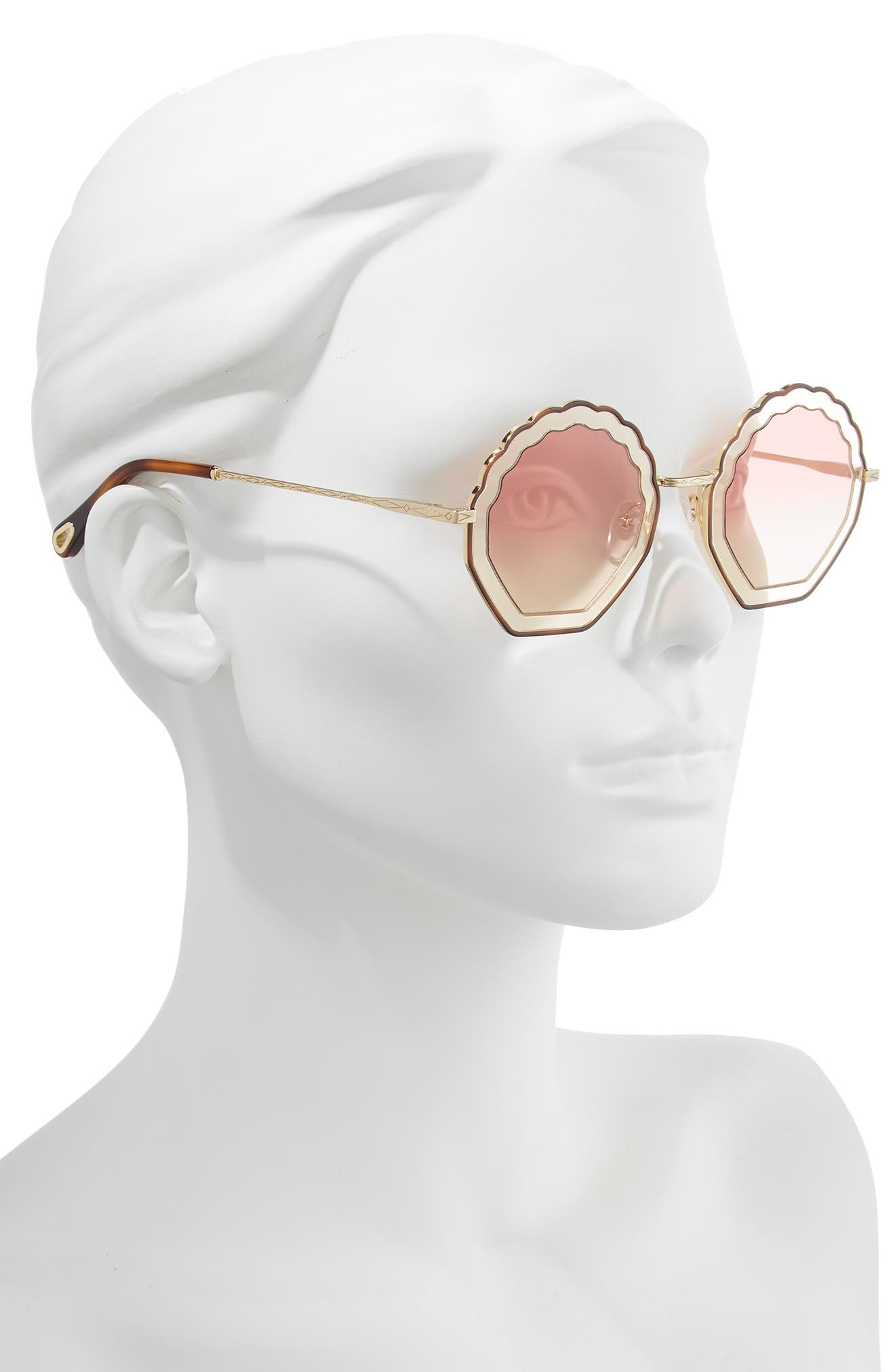 Tally 56mm Scalloped Sunglasses,                             Alternate thumbnail 2, color,                             HAVANA/ SAND/ GRADIENT ROSE