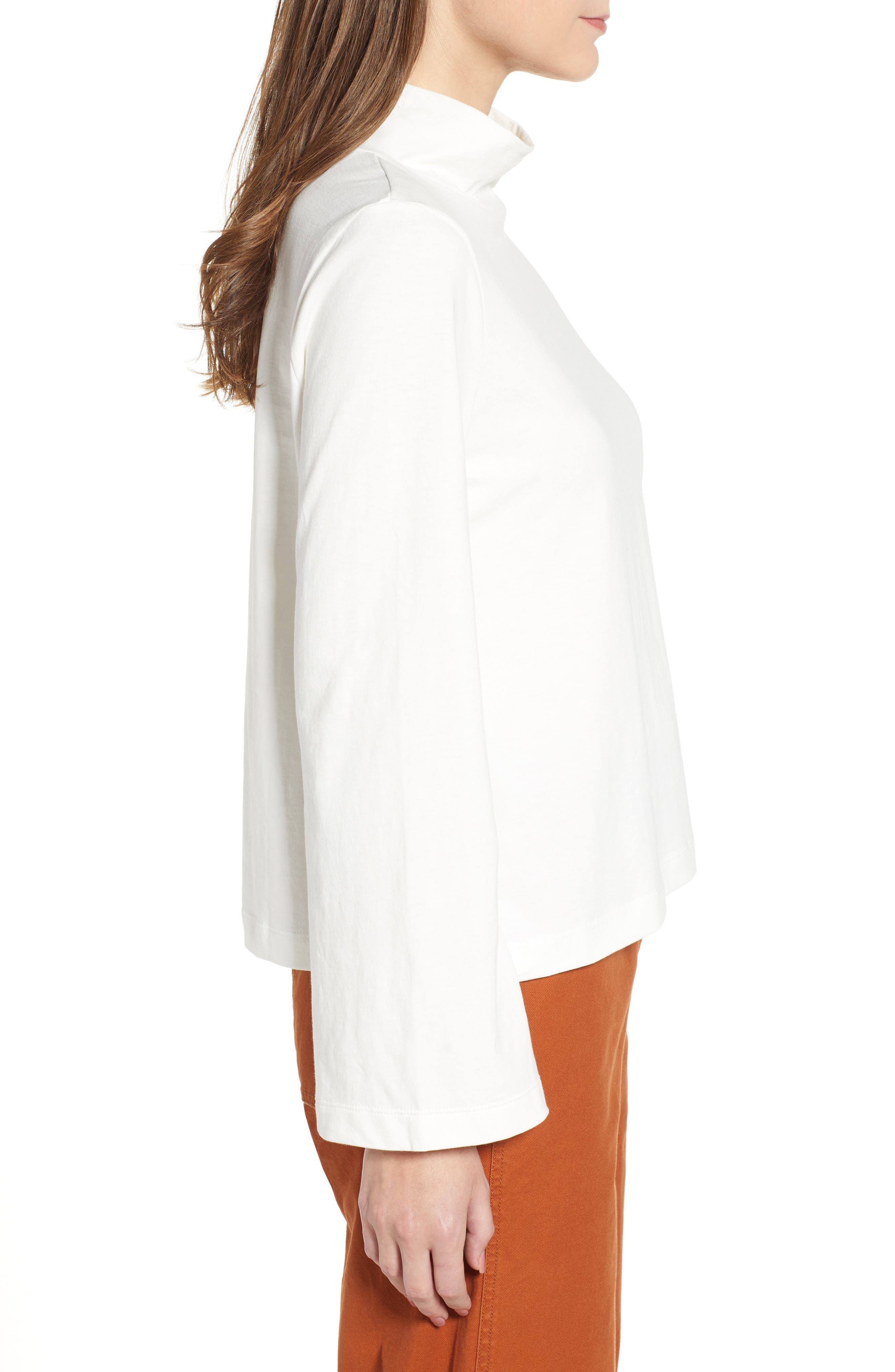 Wide Sleeve Turtleneck,                             Alternate thumbnail 3, color,                             BRIGHT IVORY
