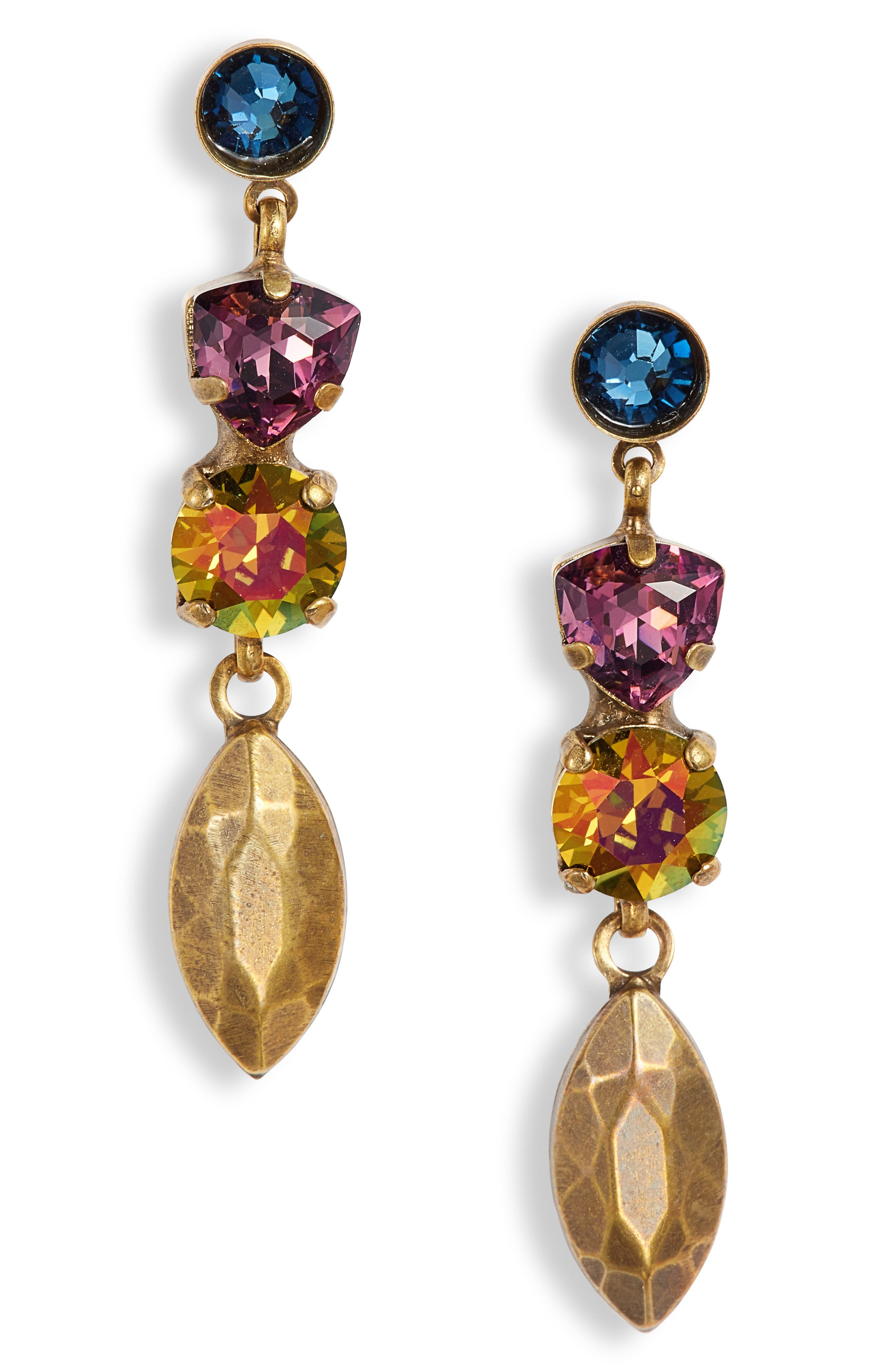 SORRELLI Metal & Crystal Drop Earrings in Gold Multi