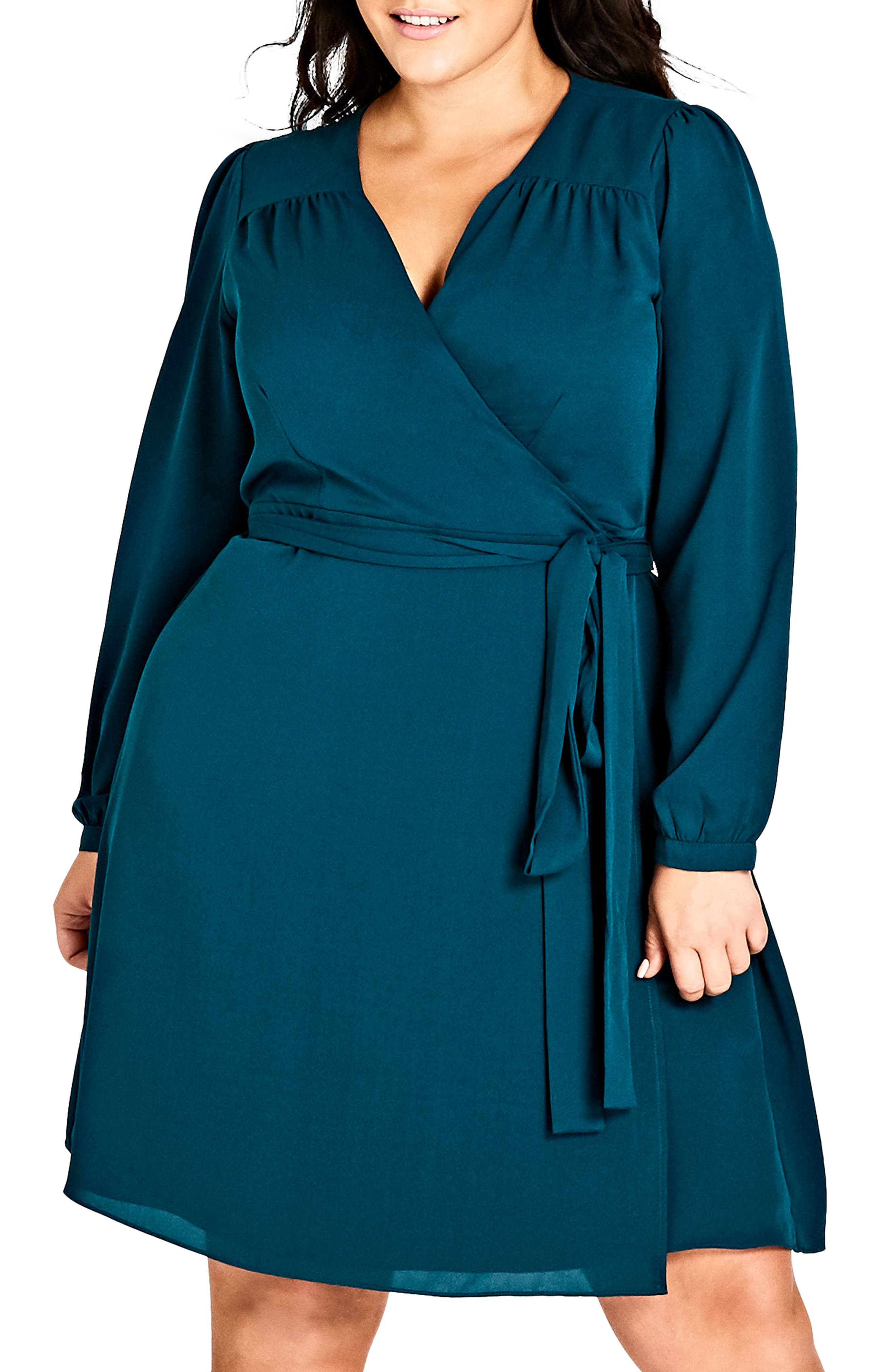 Mia Wrap Dress,                             Main thumbnail 1, color,                             EMERALD